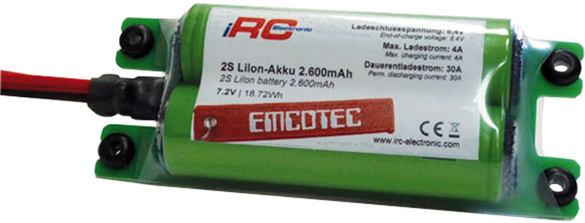 EMCOTEC LION BATTERY PACK 2600 MAH 2S 7.2V COMP ACT 30A WITH MPX PLUG