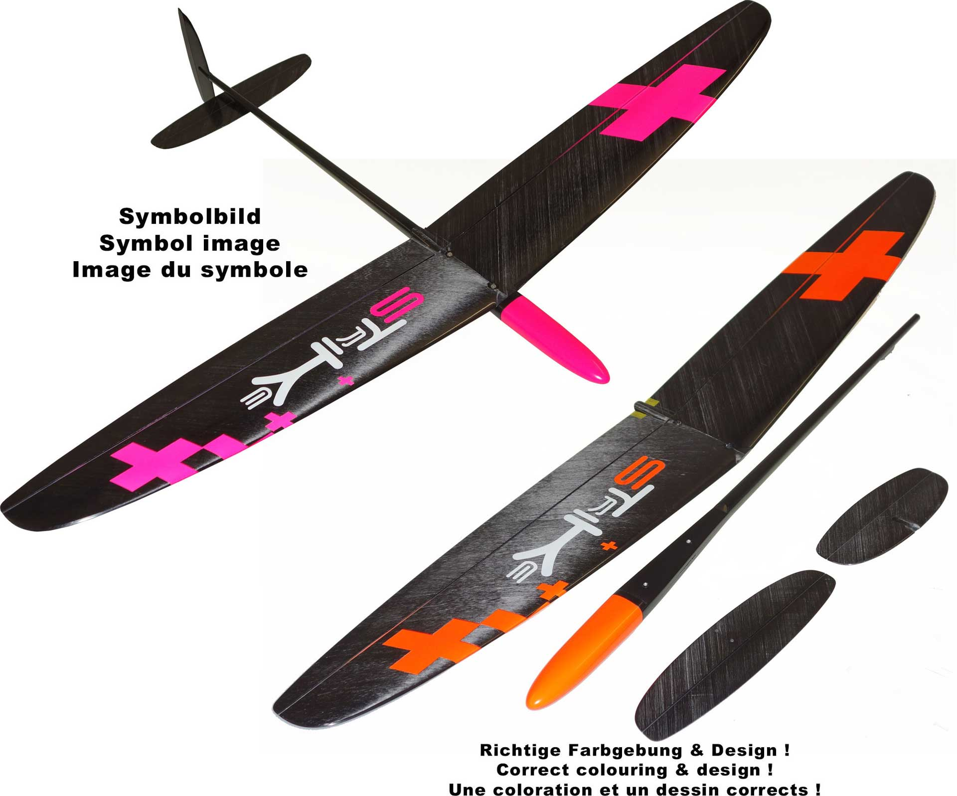 "OA-Composites Strike 3 Mini DLG Ejection Glider Colour # A (""Plus"" Orange)"