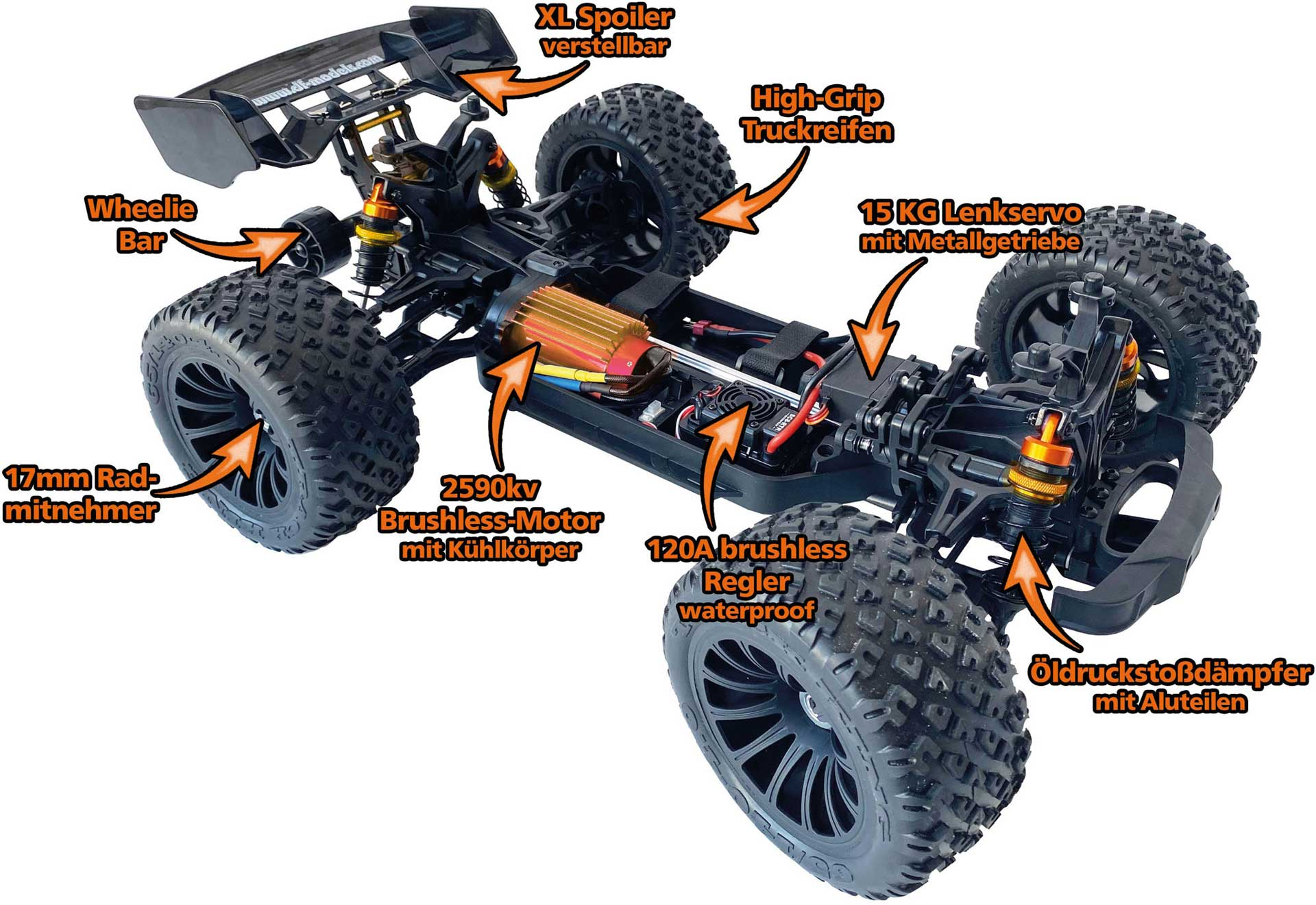 DRIVE & FLY MODELS Destructor BL 1/8 Truggy 4WD EP RTR Brushless