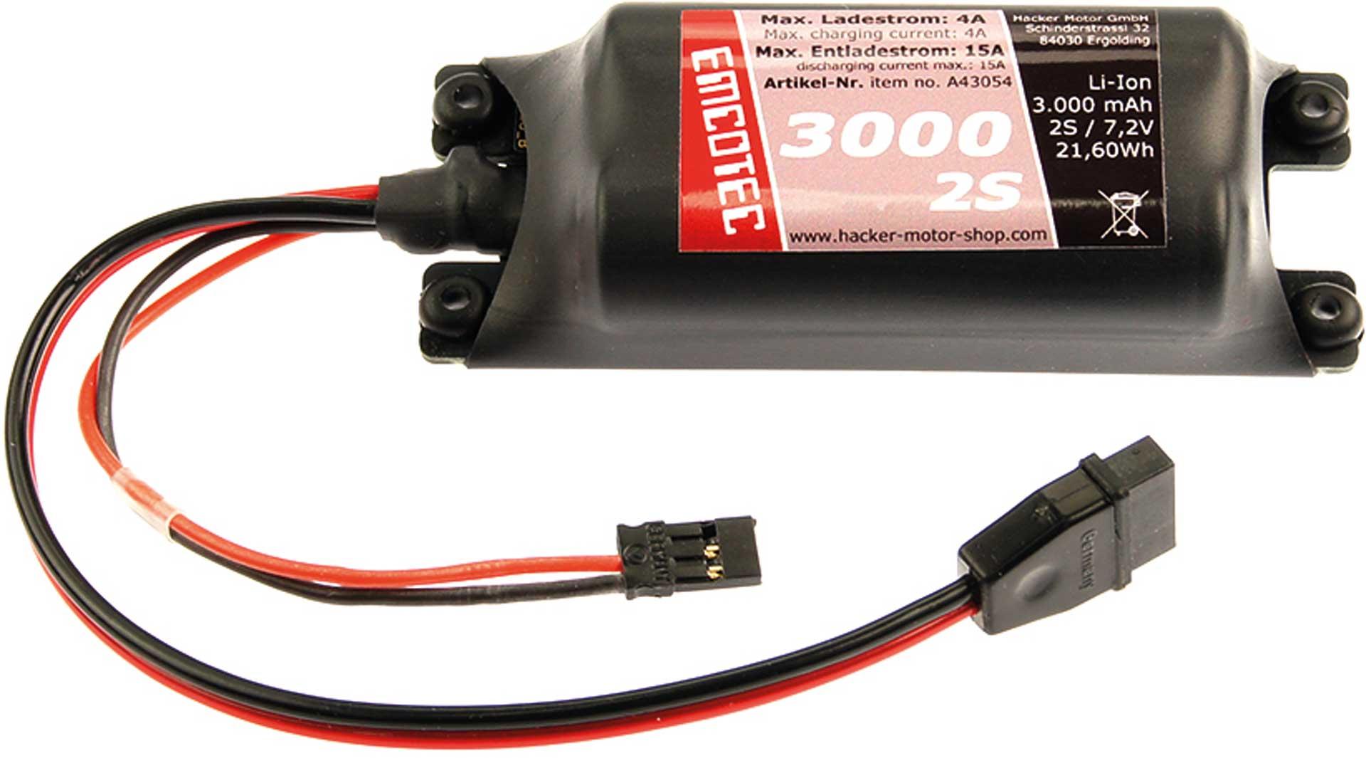 Emcotec LiIon-Akku 3000mAh 7,2V 2S Compact 15A Platine