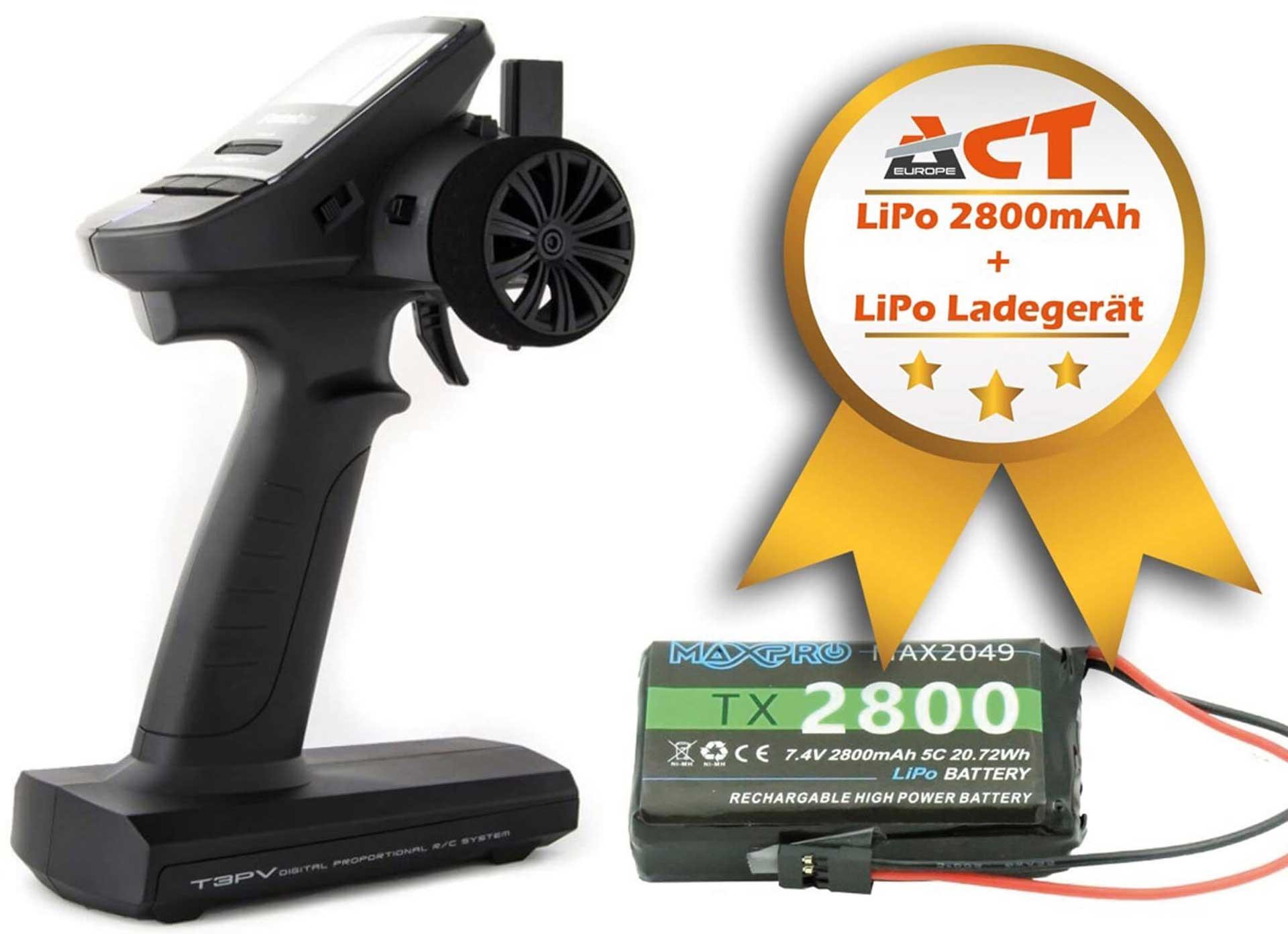 FUTABA T3PV S-FHHS / T-FHSS 2,4Ghz Fernsteuerung mit Telemetrie,R304SB und LiPo Senderakku