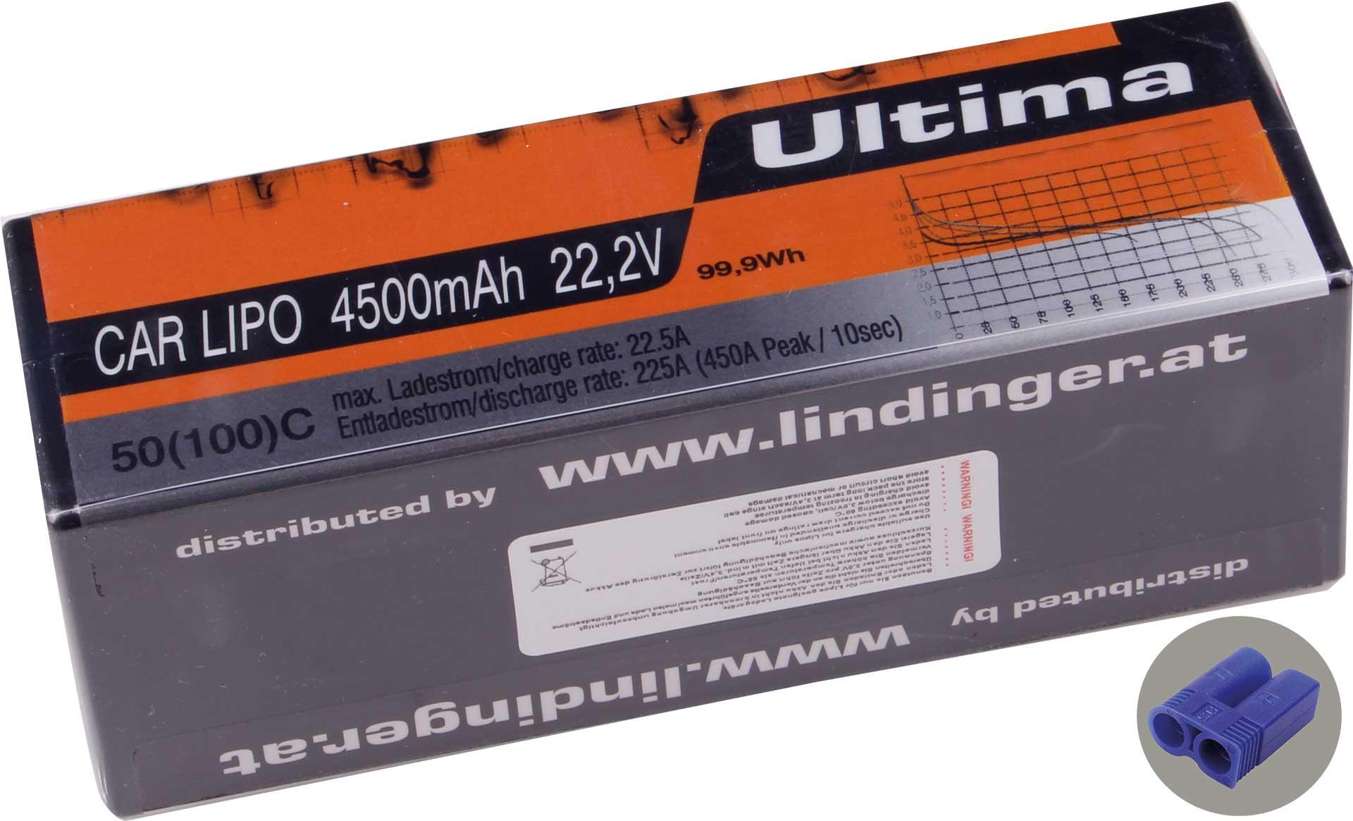 Wellpower Lipo Akku ULTIMA CAR 4500 mAh / 22,2 Volt 6S 50/100C CH5 mit EC-5 Stecker