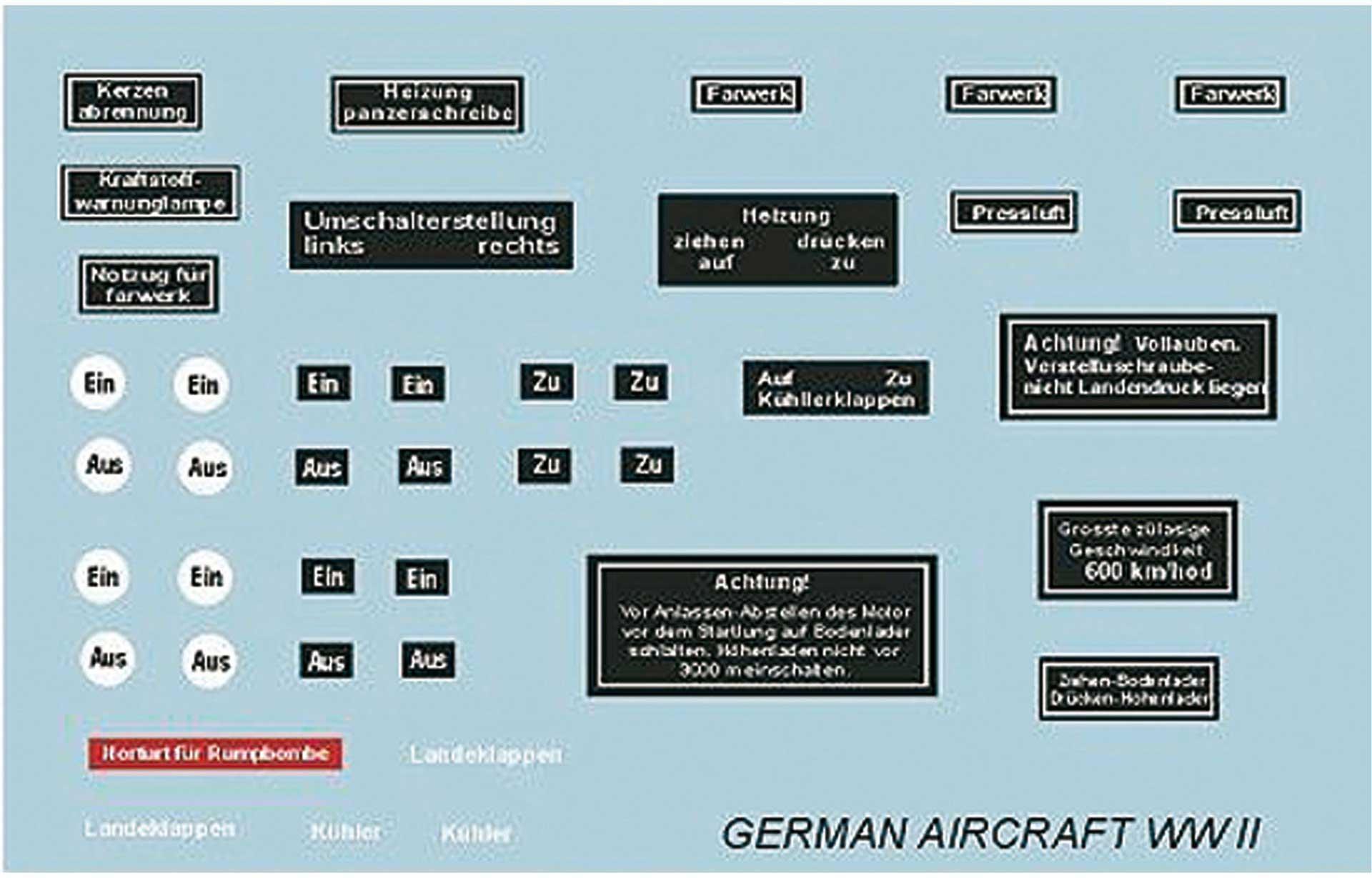 PLANET-HOBBY SCALE INSTRUMENTS 1/3 FLUGZ.II.WORLD WAR