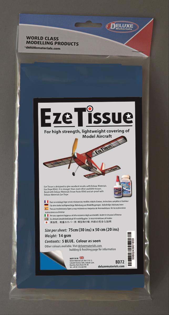 DELUXE Eze Tissue Blau Bespannpapier 75x50xm 5Stk. ab 12,5 g/m²
