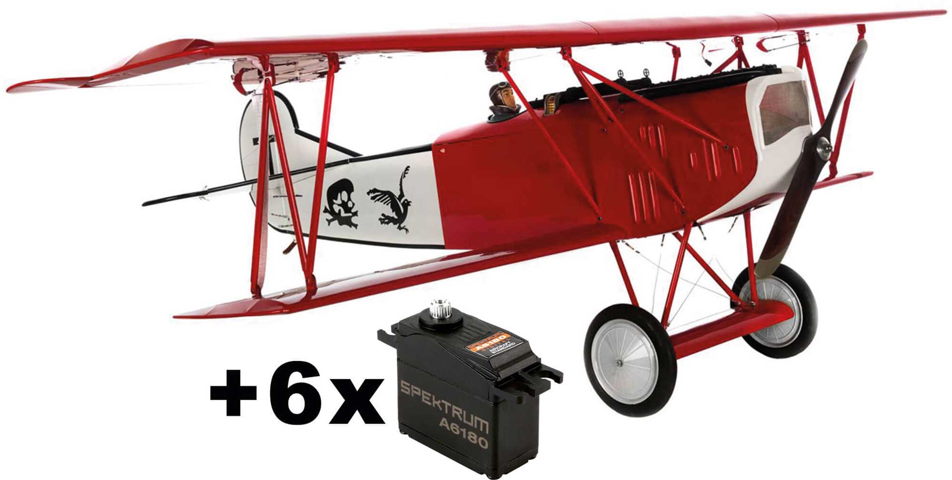 HANGAR 9 Fokker D.VII 30-60cc ARF Action SVR with 6pcs. Spektrum A6180 servos