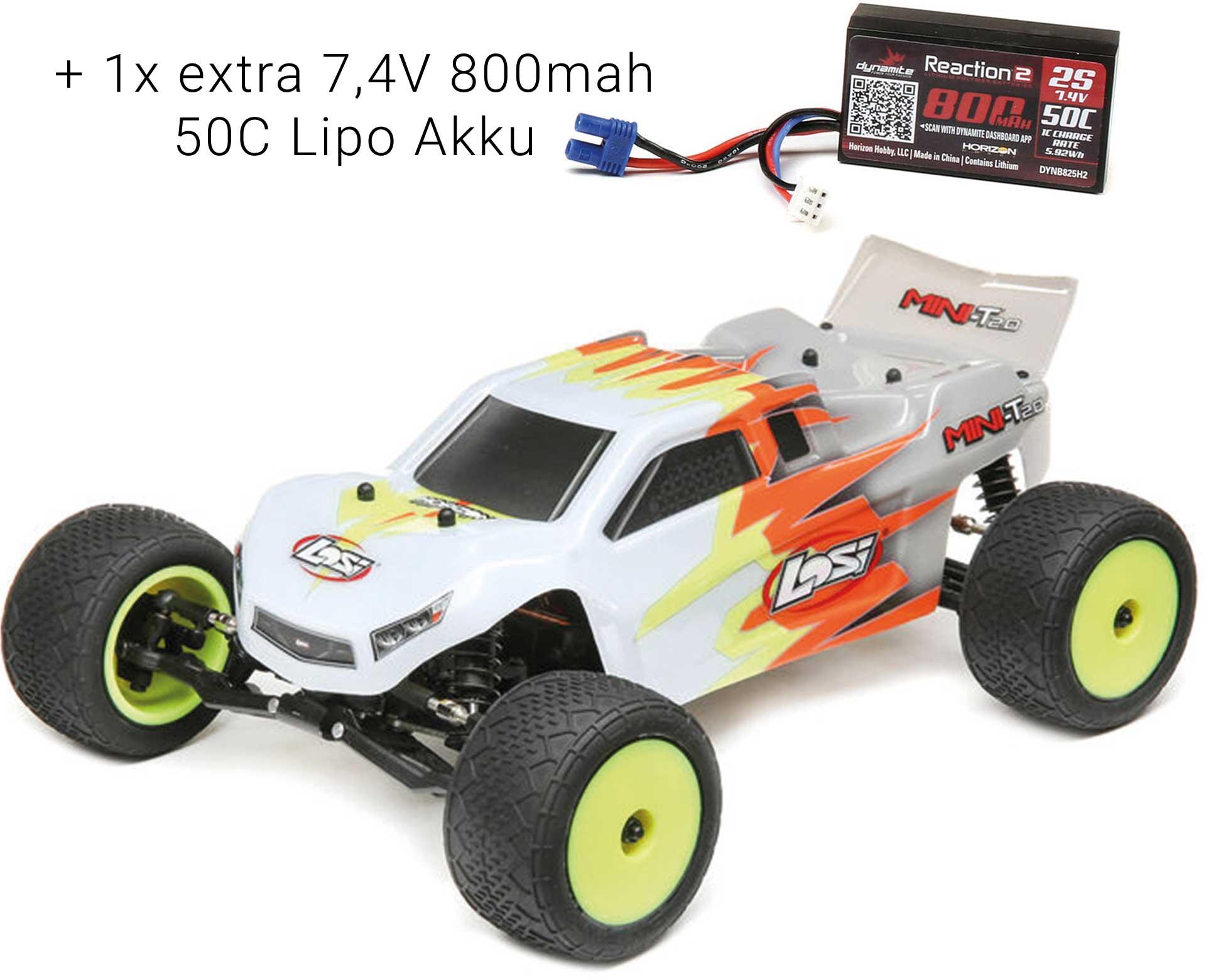 LOSI Mini-T 2.0 1/18 2WD RTR Brushed Grau/Weiß + 1x extra 7,4V 800mah 50 Lipo Akku *SVR*