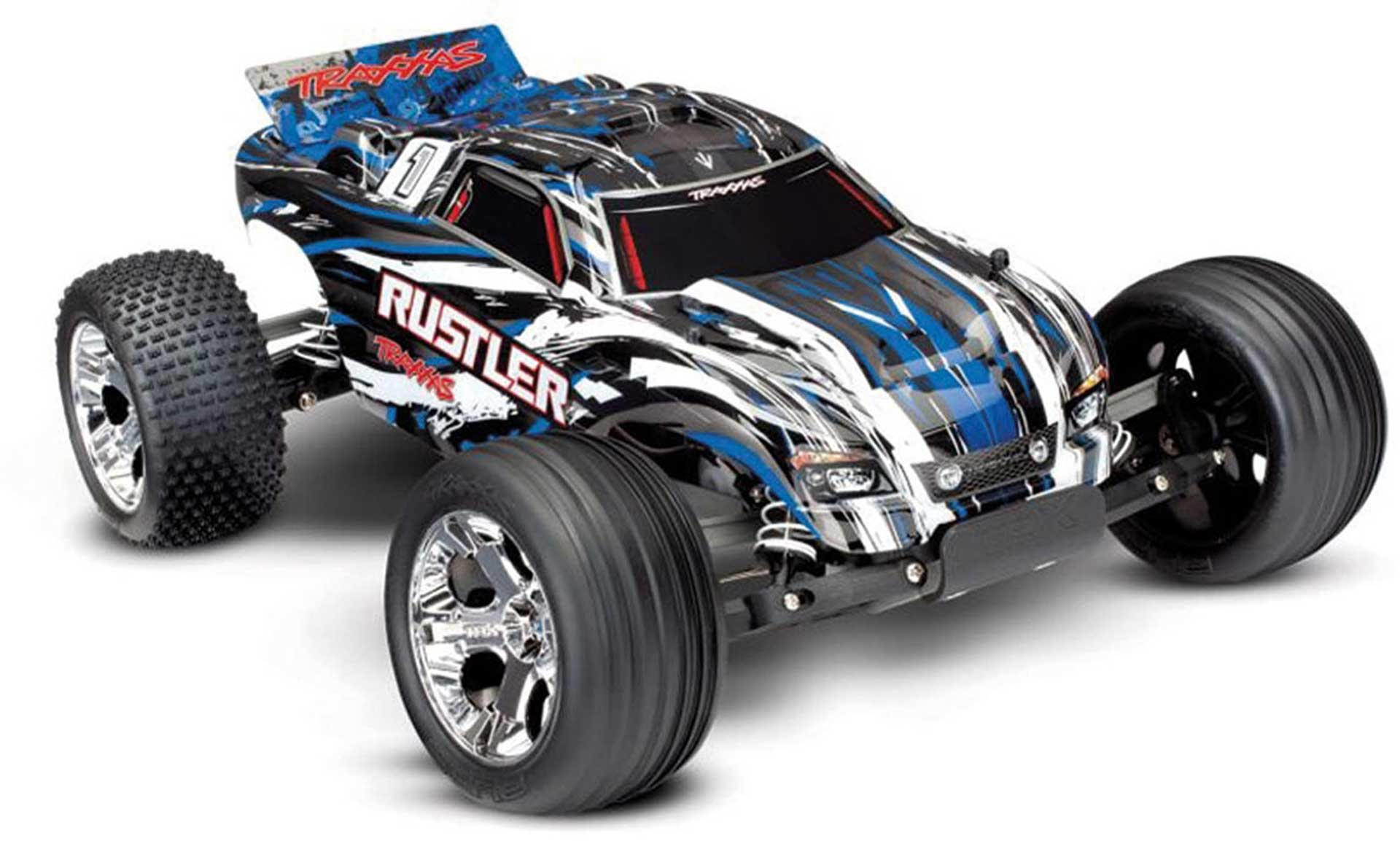 TRAXXAS RUSTLER BLUE MONSTER TRUCK BRUSHED 1/10 2WD RTR WITHOUT BATTERY/CHARGER