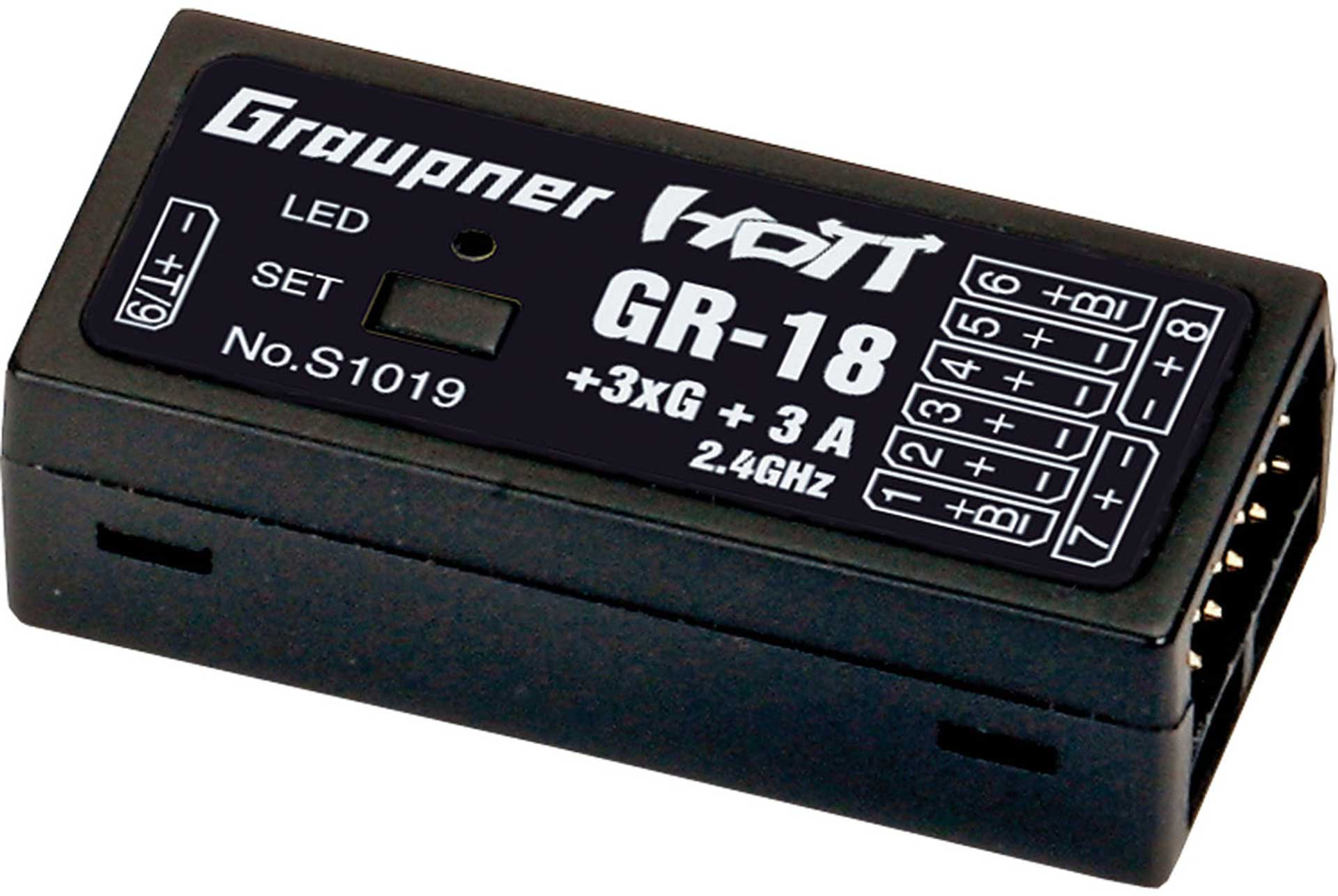 GRAUPNER RECEIVER GR-18 + 3XG + 3A COPTER FLIGHT HOTT