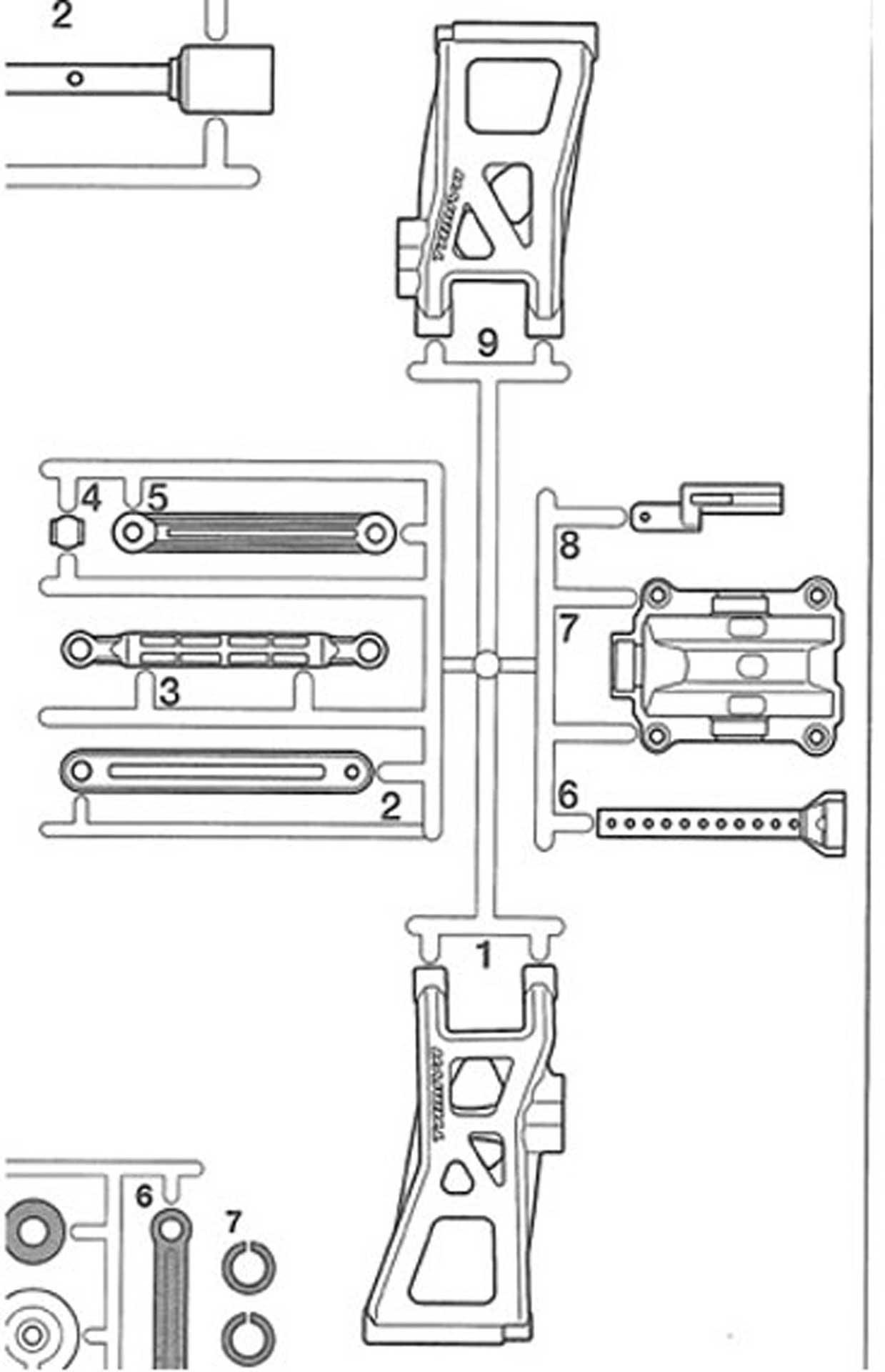 TAMIYA TT02B C-PARTS  CONTROL ARM /CAR BODY -FASTENER