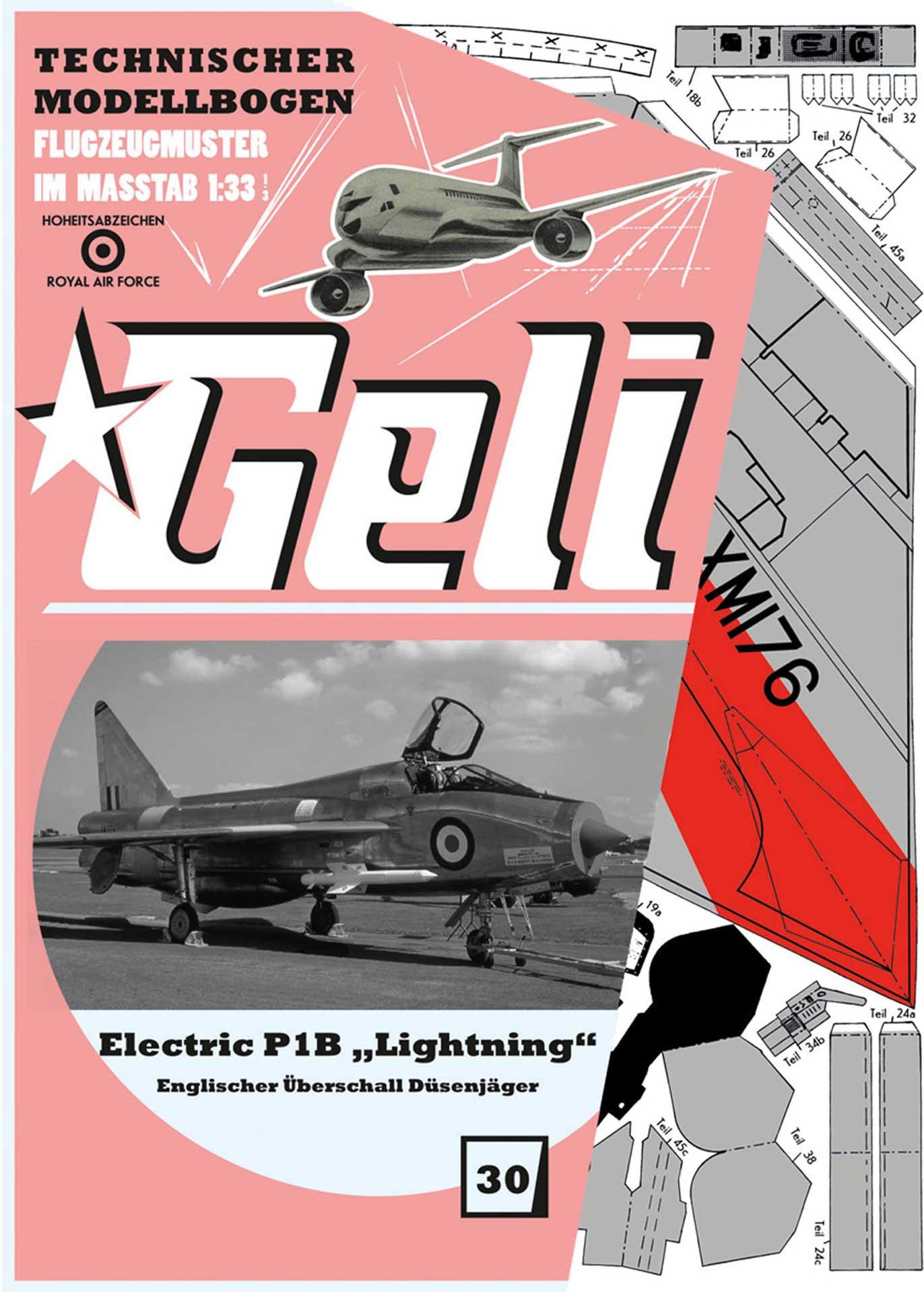 GELI ELECTRIC P1 LIGHTNING # 30 KARTONMODELL