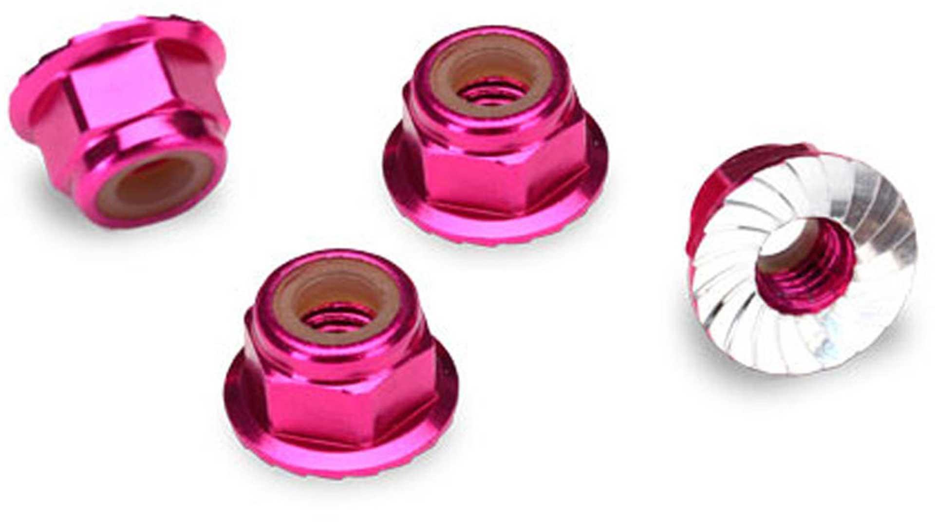 TRAXXAS Muttern mit Flansch 4mm pink
