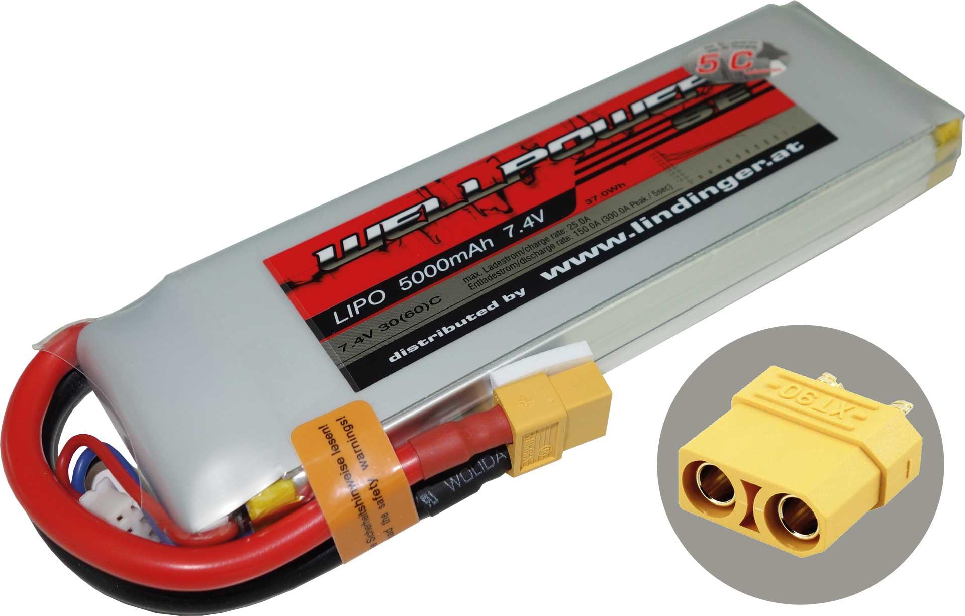 WELLPOWER LIPO AKKU SE V2 5000 MAH / 7,4 VOLT 2S XT-90