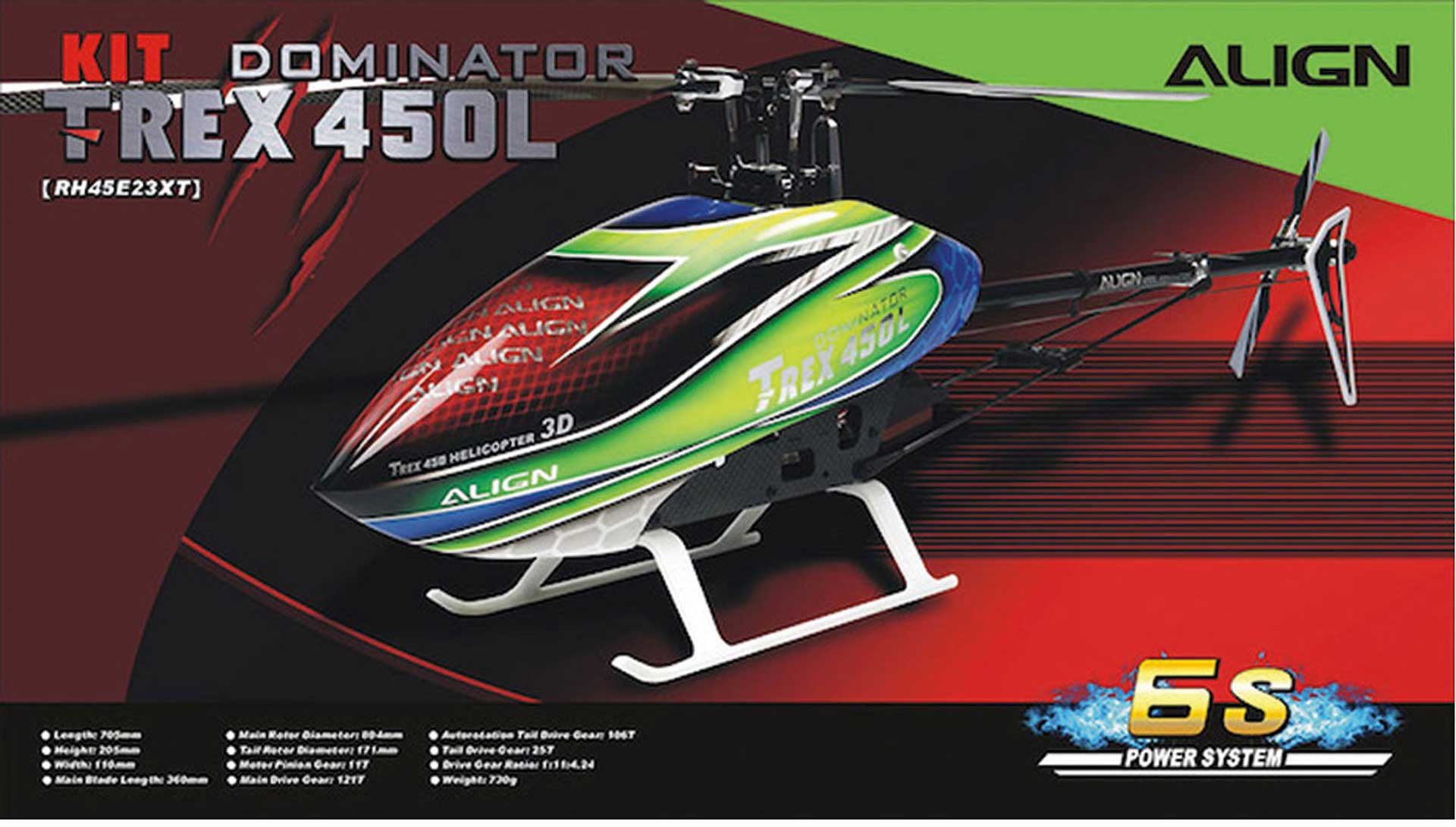 ALIGN T-REX 450L DOMINATOR KIT (6S) INKL. ANTRIEB Hubschrauber / Helikopter