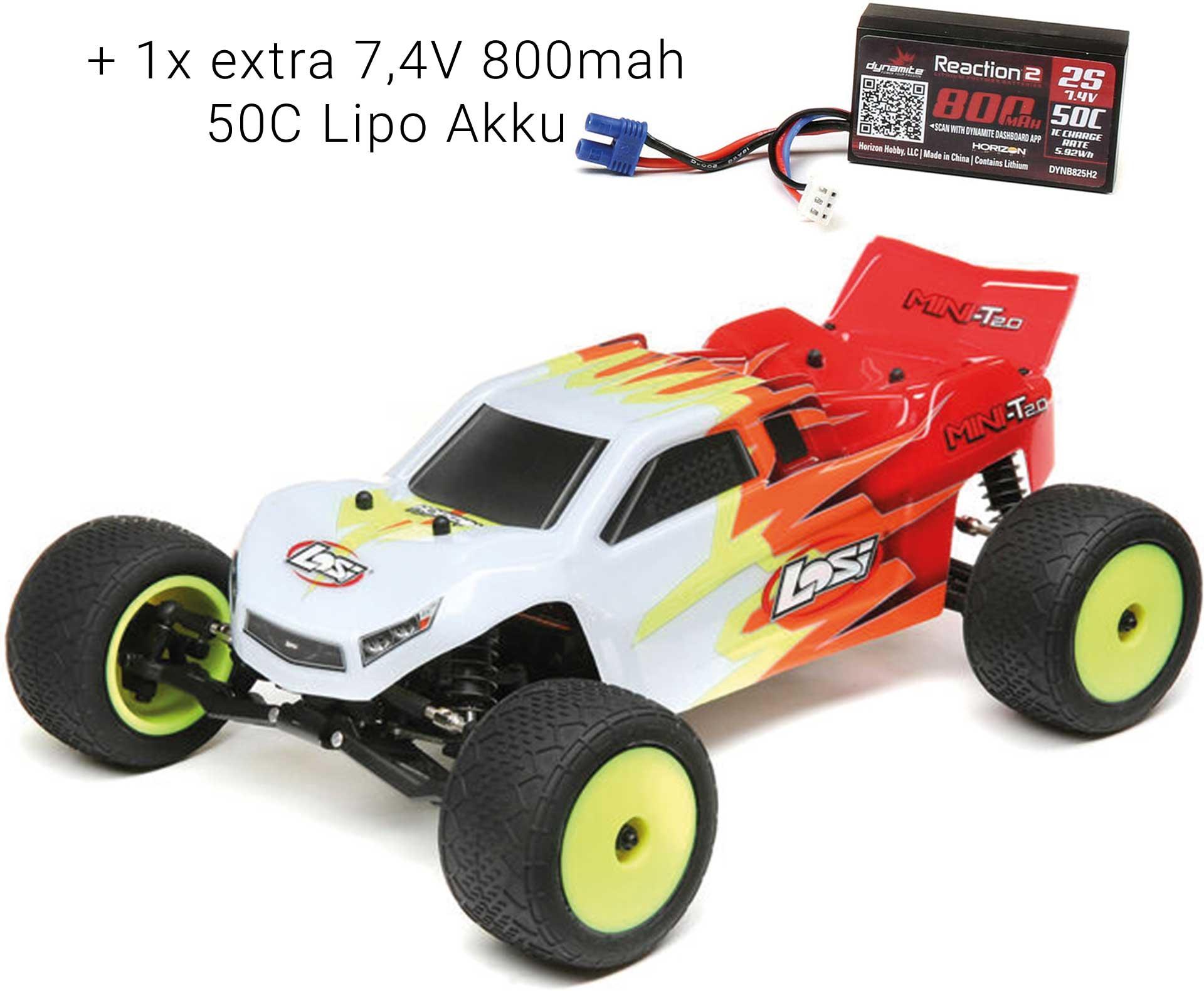 LOSI Mini-T 2.0 1/18 2WD RTR Brushed Rot/Weiß + 1x extra 7,4V 800mah 50C Lipo Akku *SVR*