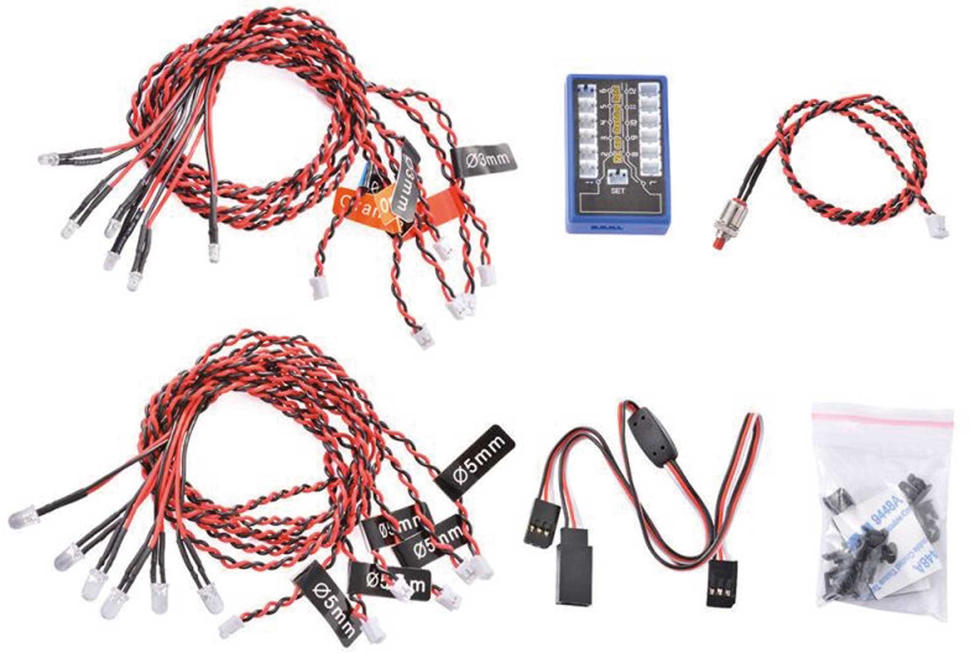 H-SPEED LED-KIT 12X 4,8-6,0 VOLT MIT KONTROLLBOX MULTICOLOR FLASHING H-SPEED FÜR RC-CAR, HELIS, FLUGZEUGE & DRONEN