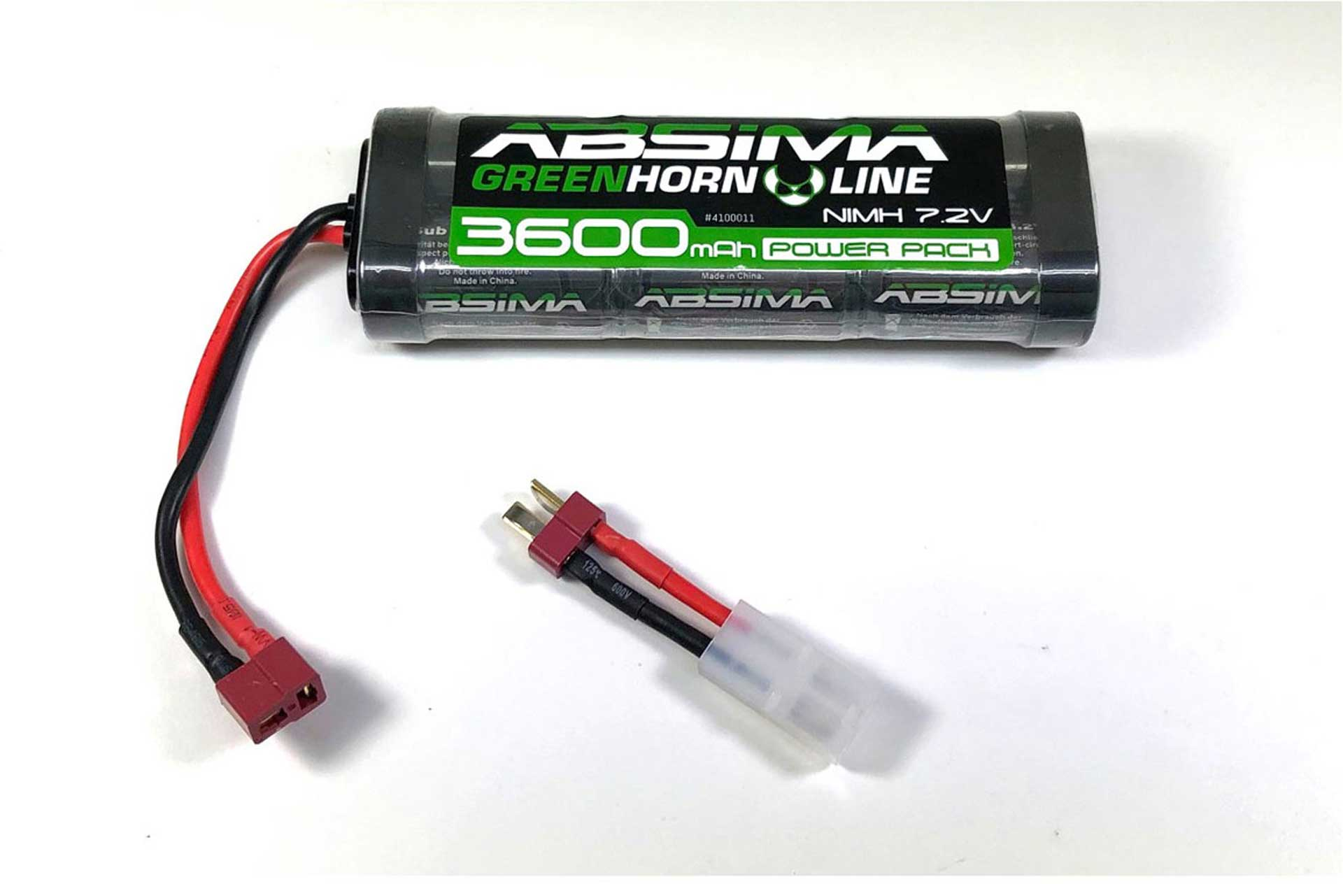 ABSIMA GREENHORN NIMH STICK PACK 7.2V 3600MAH BATTERY WITH T-PLUG CONNECTOR + TAMIYA ADAPTER