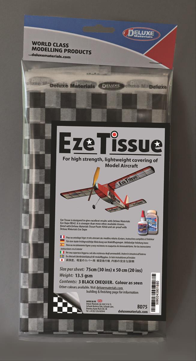 DELUXE Eze Tissue Schwarz Karo Bespannpapier 75x50xm 3Stk. ab 12,5 g/m²
