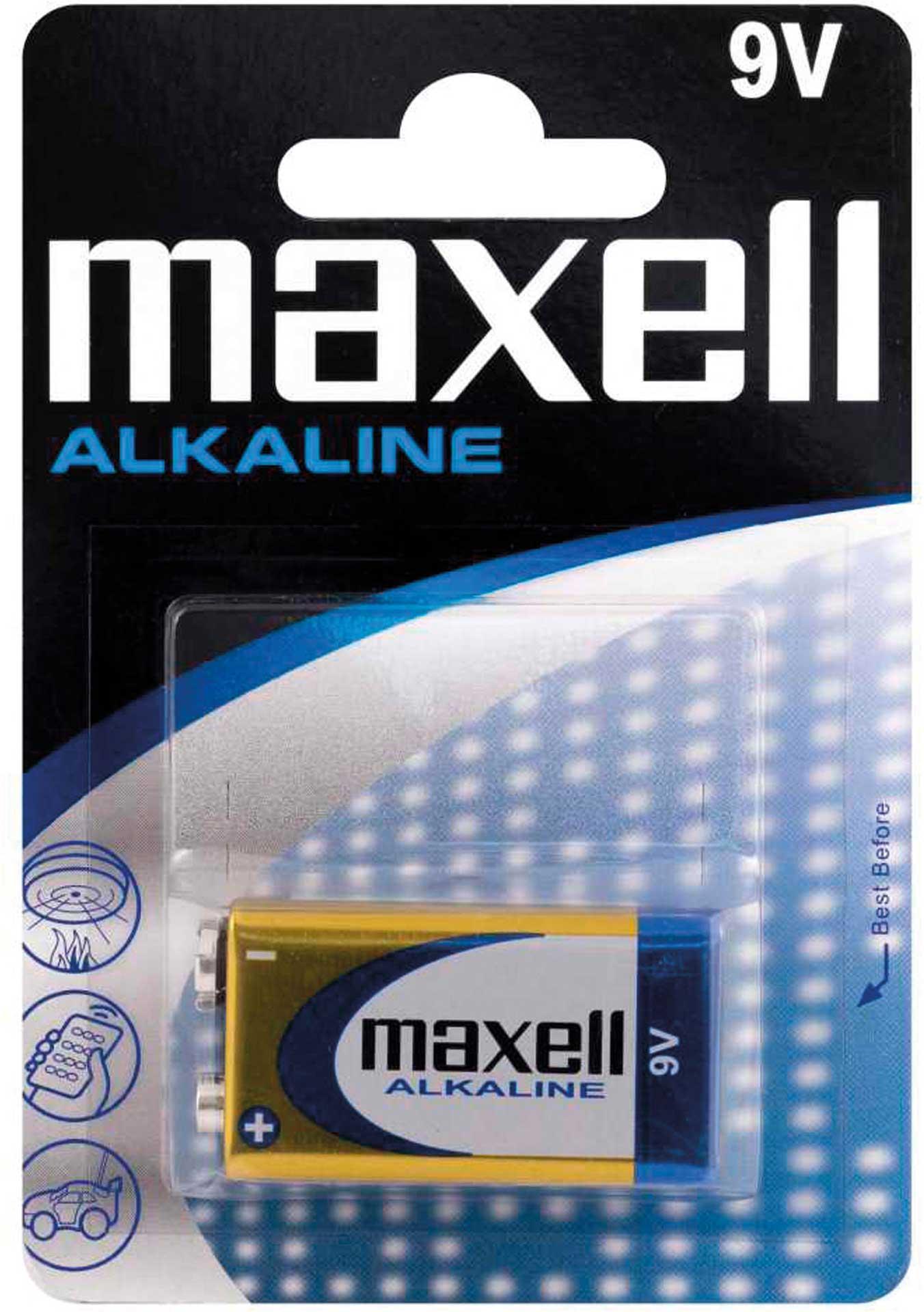 MAXELL 9V BLOCK ALKALINE BATTERIE 6LR61  6AM6