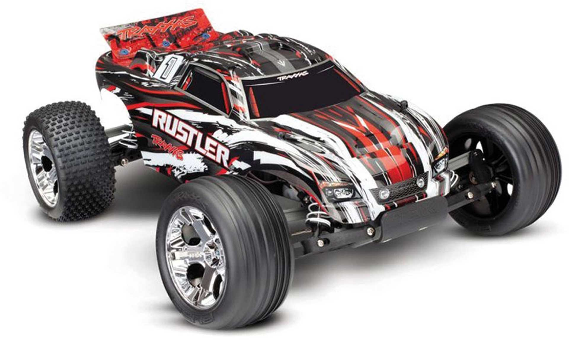 TRAXXAS RUSTLER RED MONSTER TRUCK BRUSHED 1/10 2WD RTR WITHOUT BATTERY/CHARGER