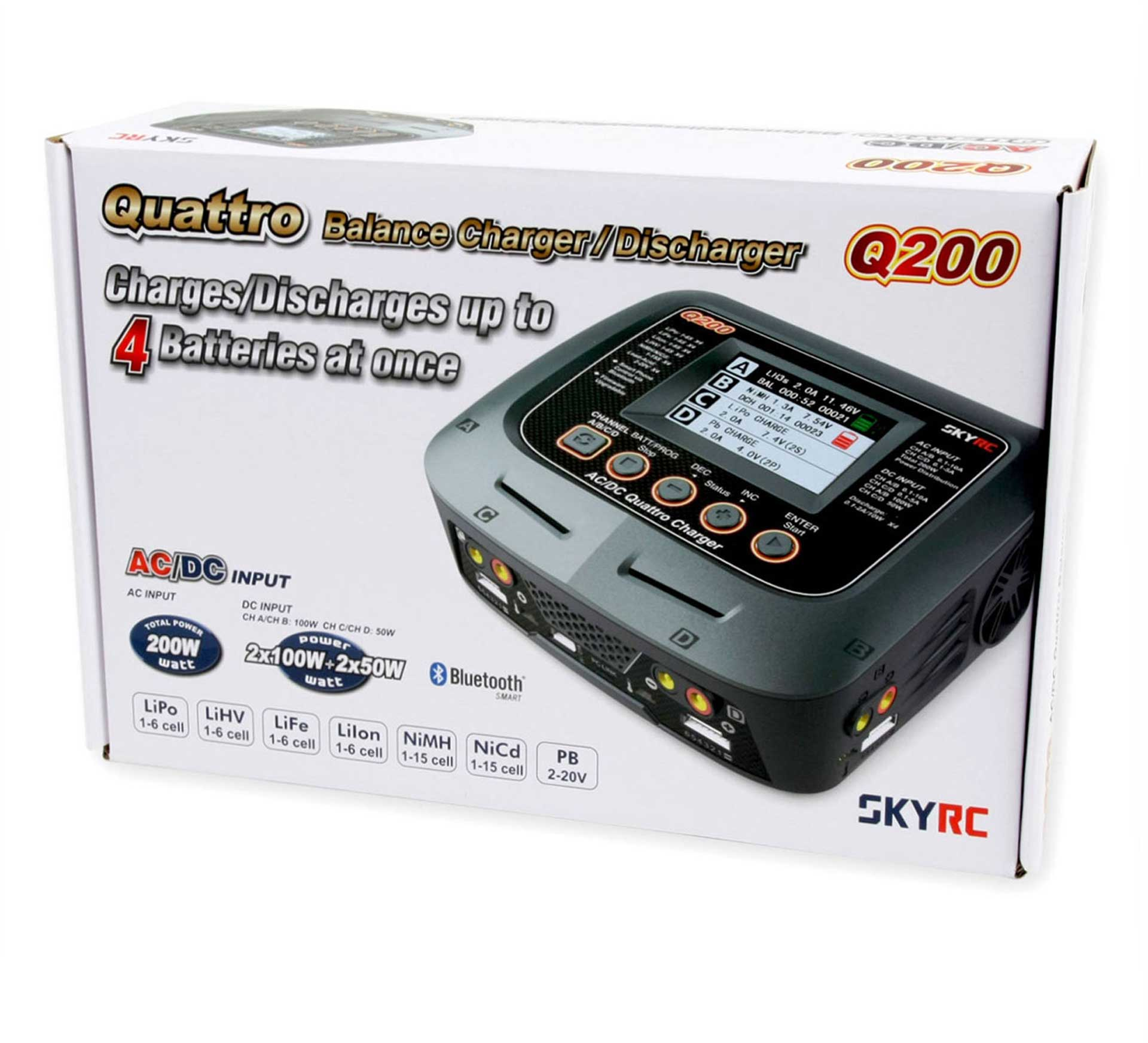 SKYRC Q200 Charger with 4 exits 1-6S 10A AC/DC 2x100W 2x50W