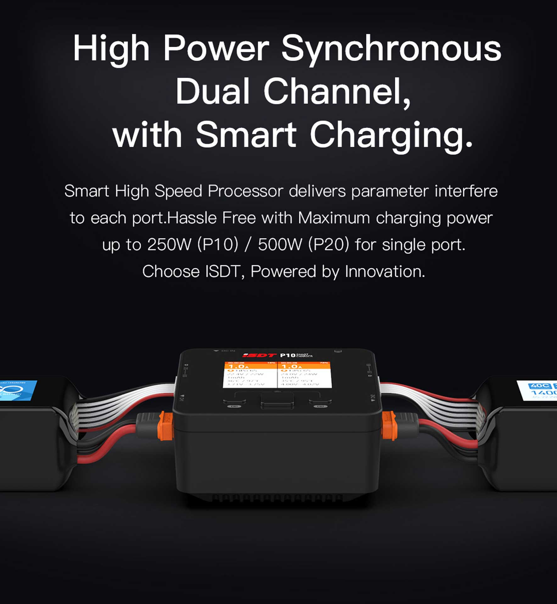ISDT P20 Dual Smart Charger 1-8S 500W (x2) 20A (2x) 800W/35A parallel charger