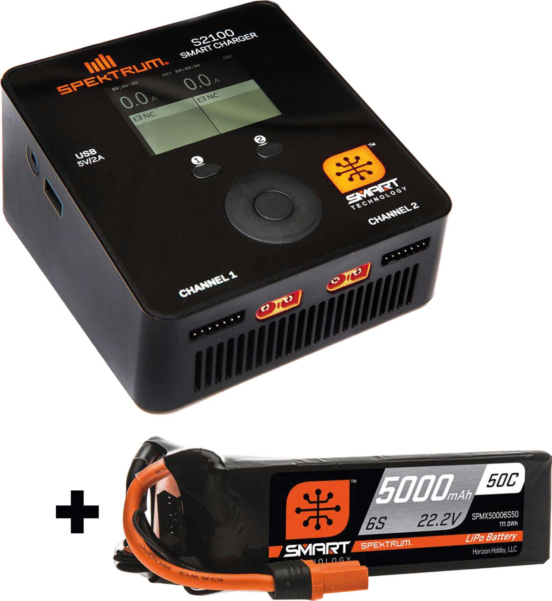 SPEKTRUM Smart S2100 AC Charger 2x100W Aktion SVR m it 1Stk. Smart Lipo 5000mAh 6S 22,2V 50c