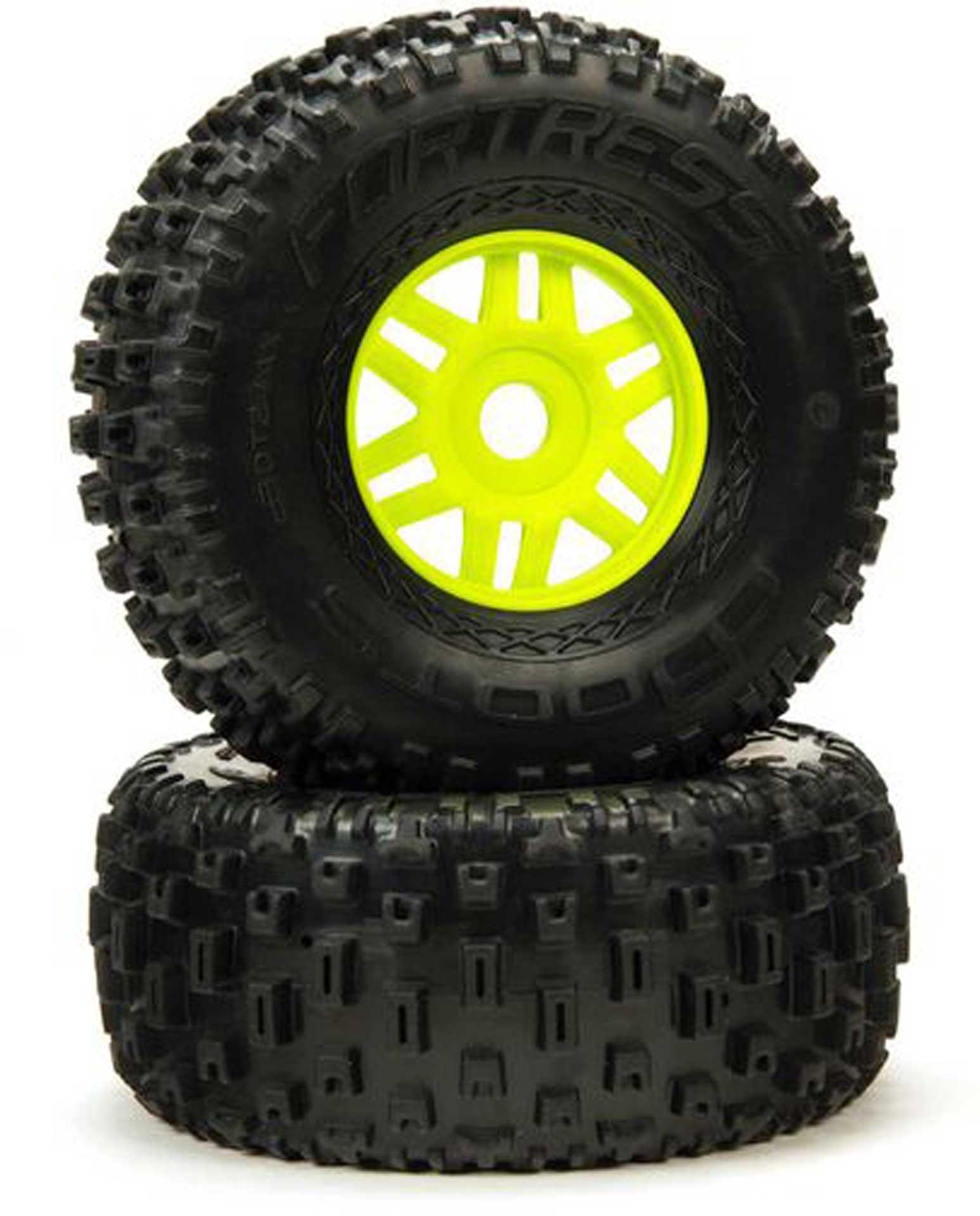 Arrma dBoots 'Fortress' Tyre Set Glued Green (Pair)