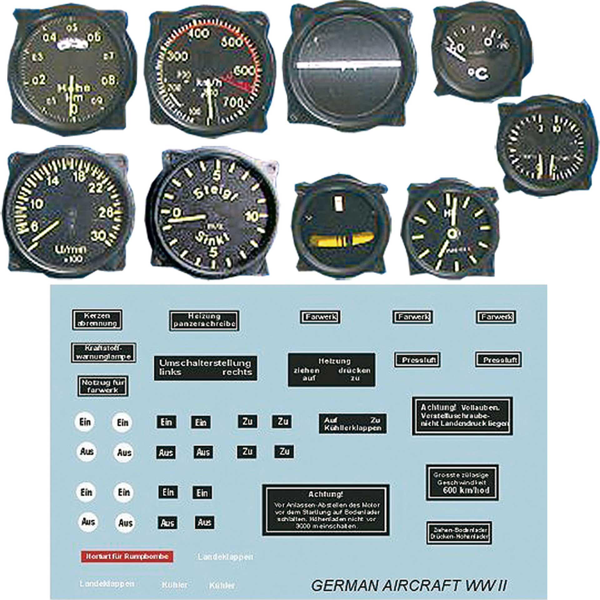 PLANET-HOBBY Scale Instrumente 1/3 Flugzeug II. Weltkrieg