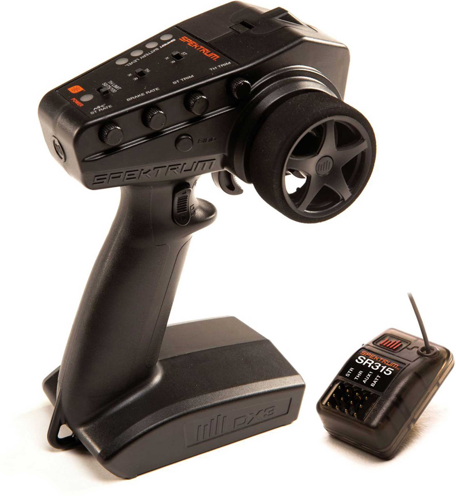 SPEKTRUM DX-3 3-CHANNEL 2.4GHZ REMOTE CONTROL WITH SR315 RECEIVER, GUN TRANSMITTER