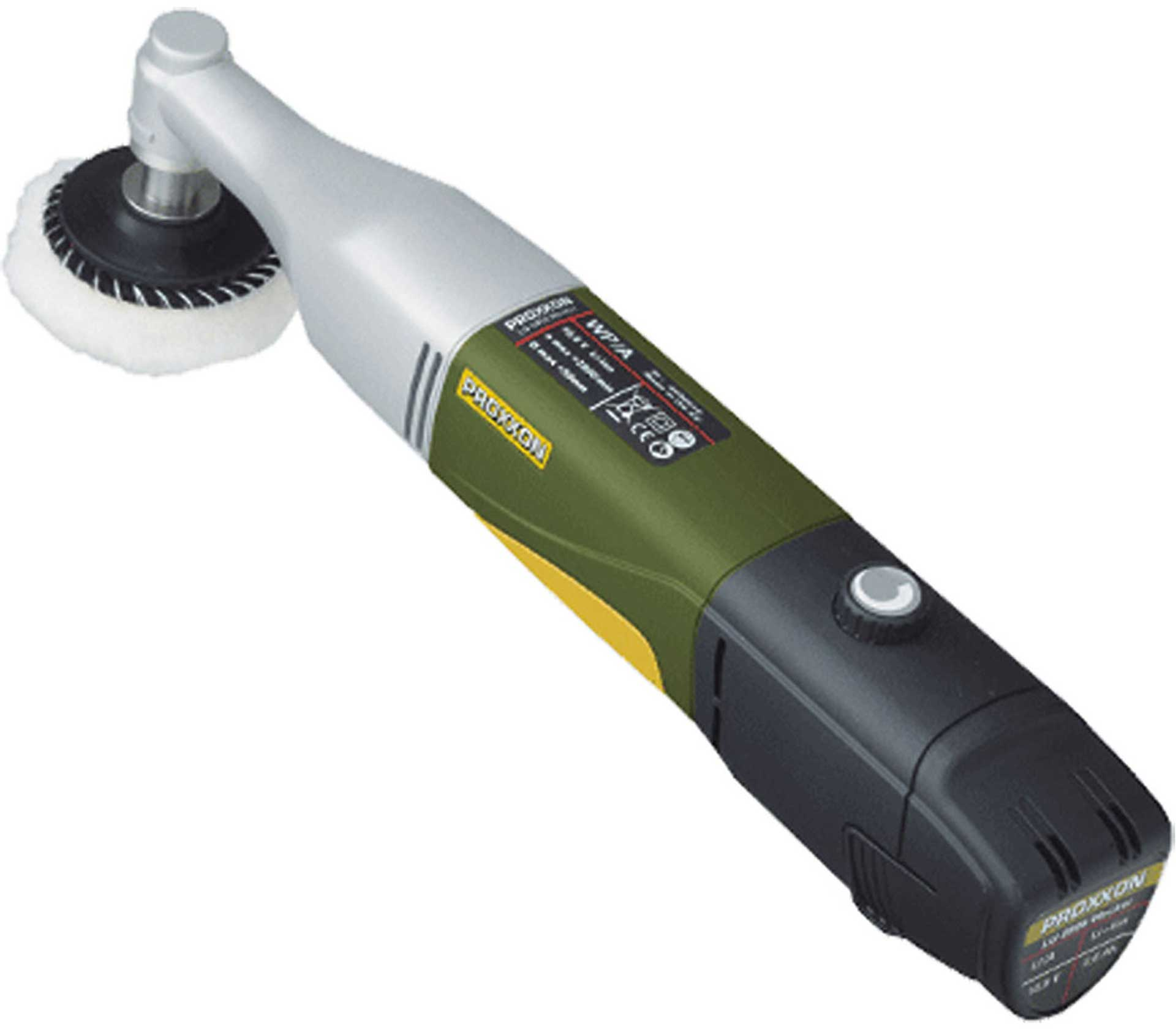 PROXXON BATTERY-OPERATED ANGLE POLISHER WP/A; IN QUICK CHARGER + LI-ION BATTERY