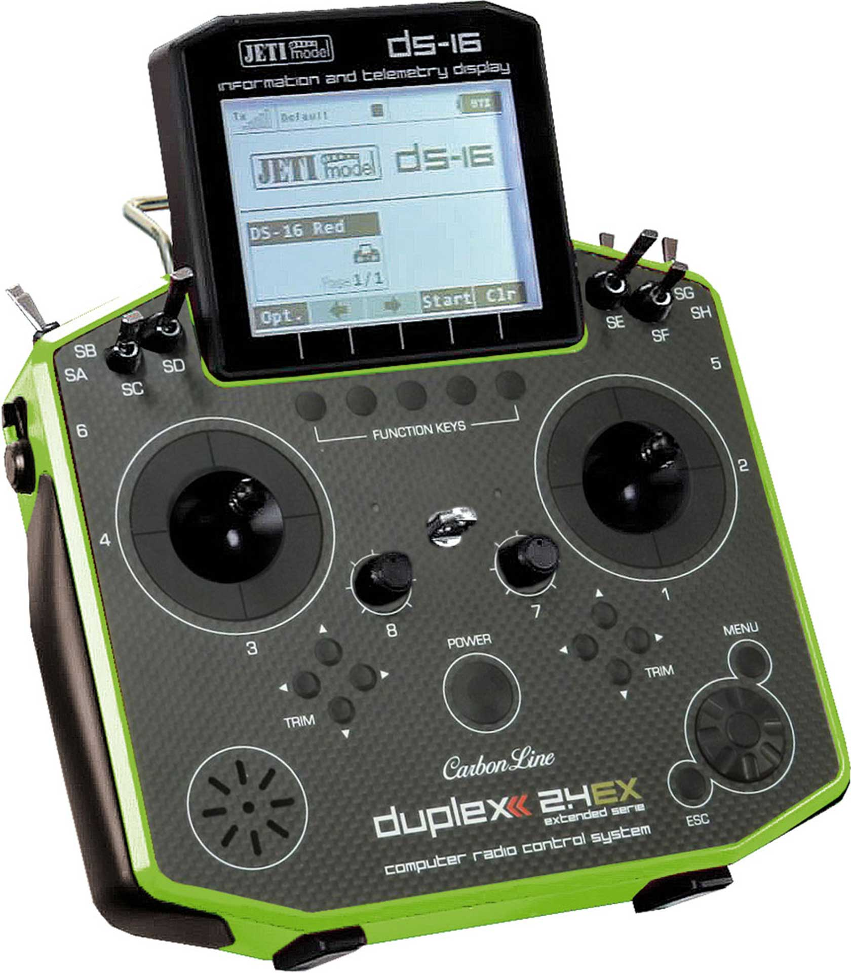 JETI DS-16 2.4EX DUPLEX CARBON MULTIMODE  GREEN WITH R9 2.4EX RECEIVER TRANSMITTER