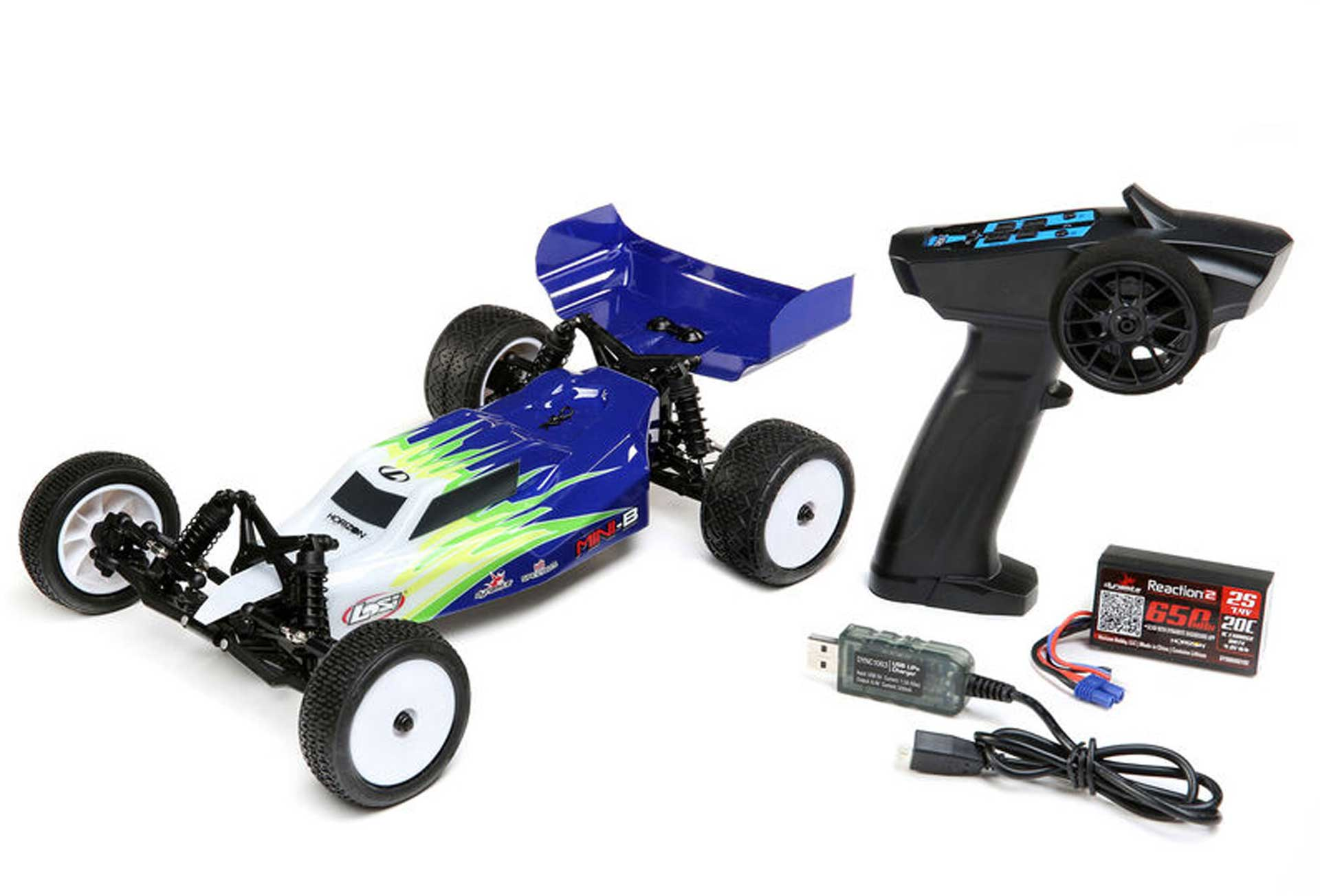 LOSI Mini-B Brushed RTR 1/16 2WD Buggy Blau/Weiß