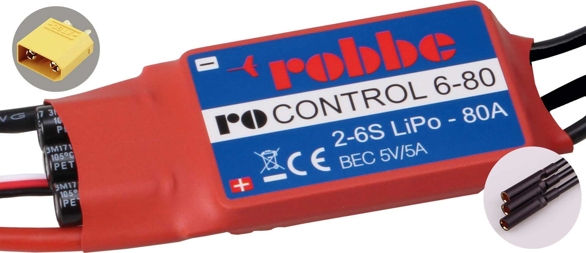 ROBBE RO-CONTROL 6-80 2-6S -80(100A) BL CONTROLLER 5V/5A SWITCH-BEC