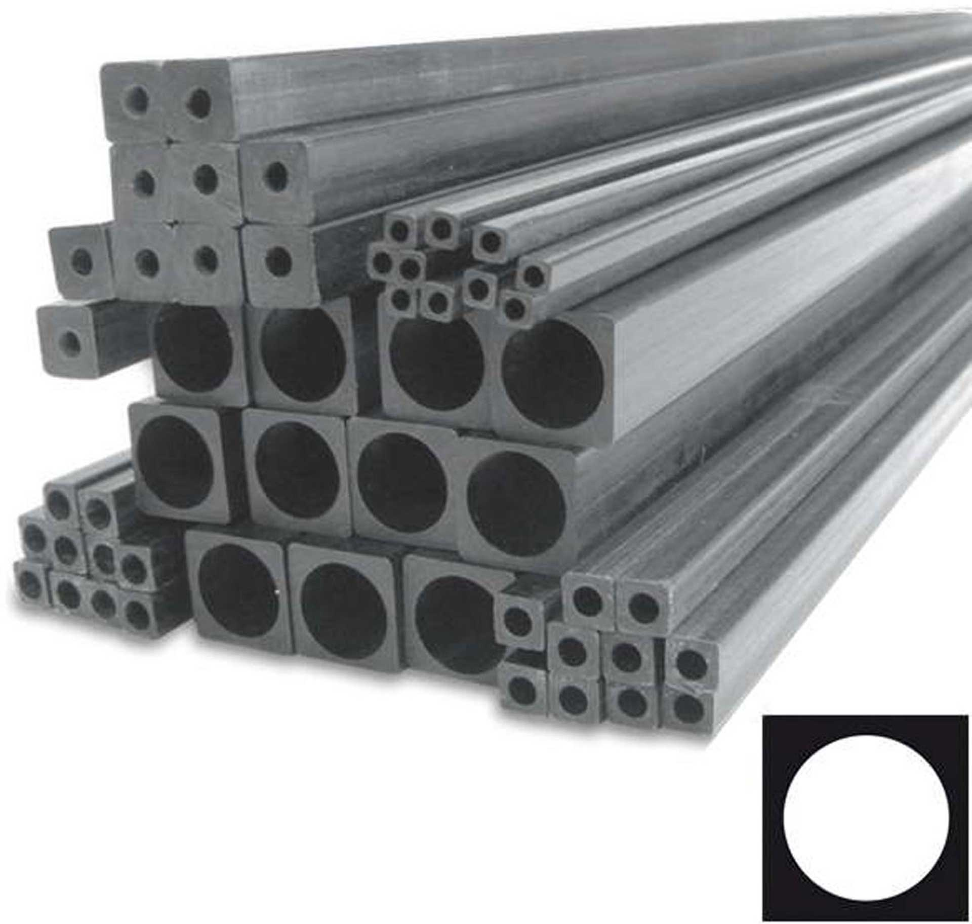 R&G CFK-Quadratrohr, innen rund (6,1 x 6,1 / Ø 5,0 x 1000 mm)