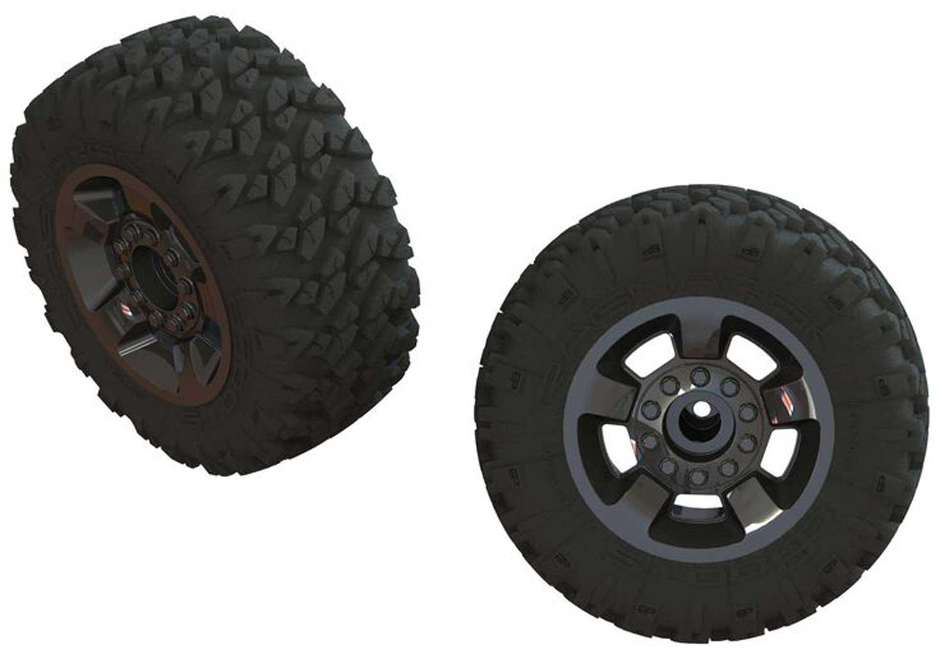 Arrma AR550053 Ragnarok Mt' Tire ST Glued(Blk Chrome)(2)
