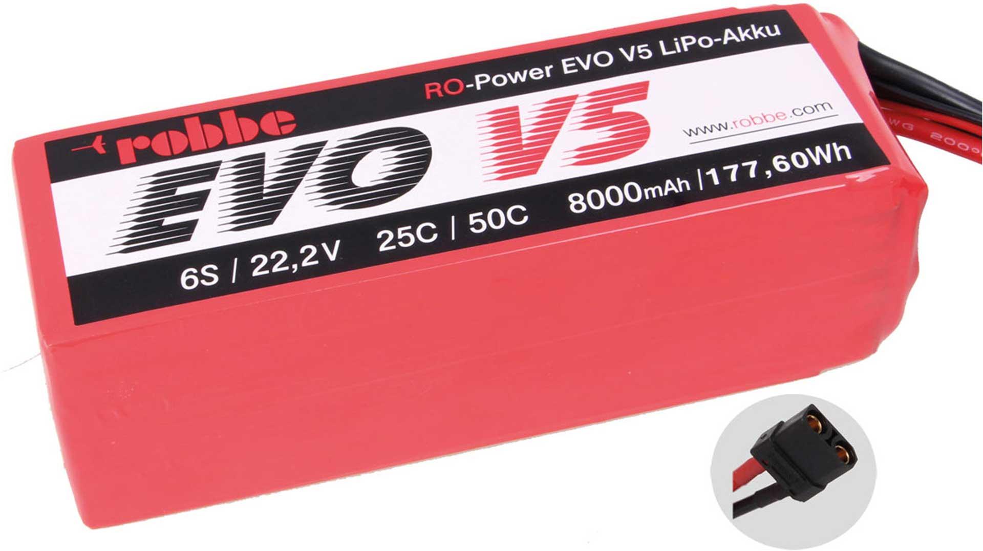 ROBBE RO-POWER EVO V5 25(50)C 22,2 VOLT 6S 8000MAH LIPO BATTERY