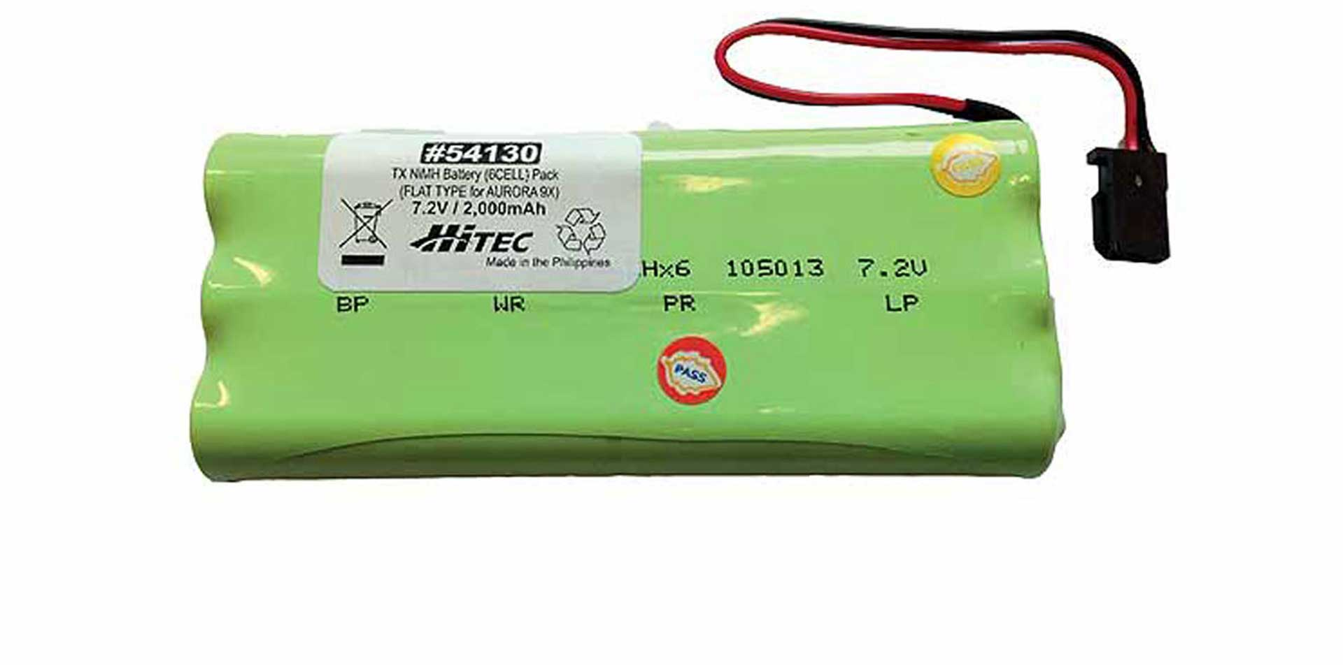 HITEC TRANSMITTER BATTERY AURORA 9 2000MAH 6 CELLS NIMH UNI-CONNECTOR