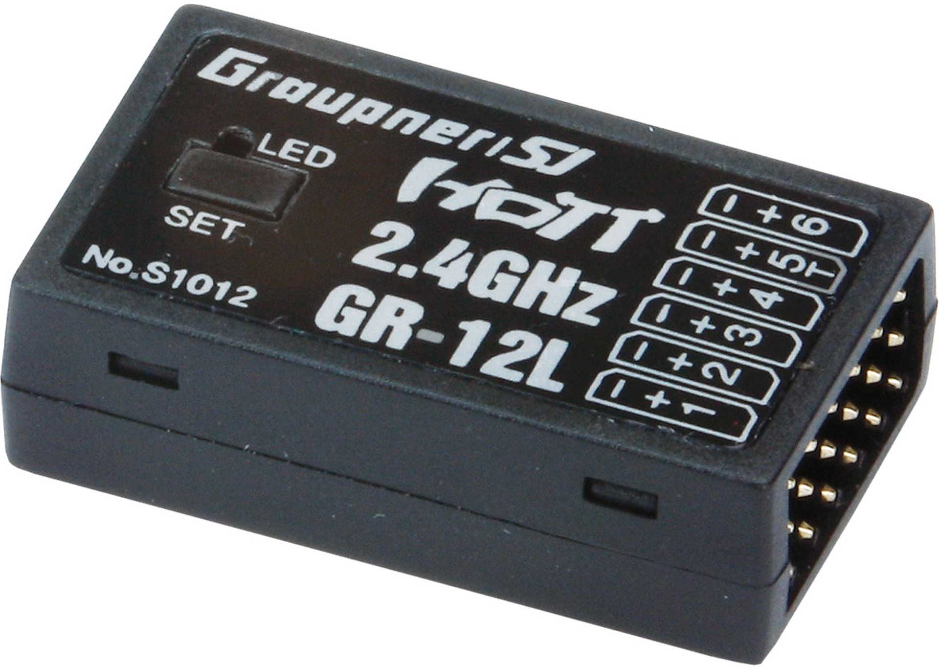 GRAUPNER GR-12L 2.4GHZ HOT 6K RECEIVER WITHOUT CHANNEL MAPPING, SERVO REVERSE..