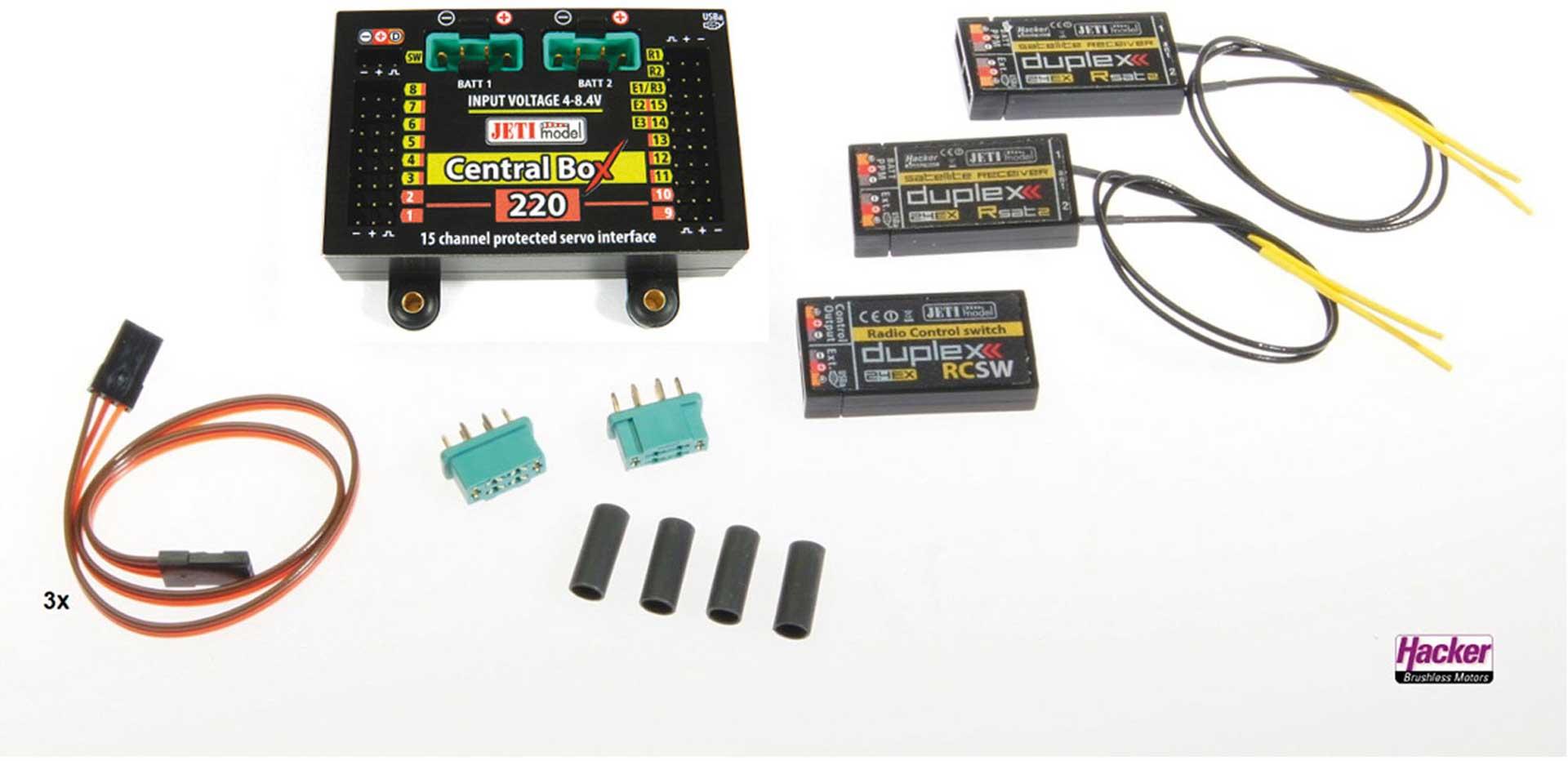 JETI DUPLEX 2.4EX CENTRAL BOX 220 + 2 RSAT2 + RC-SWITCH