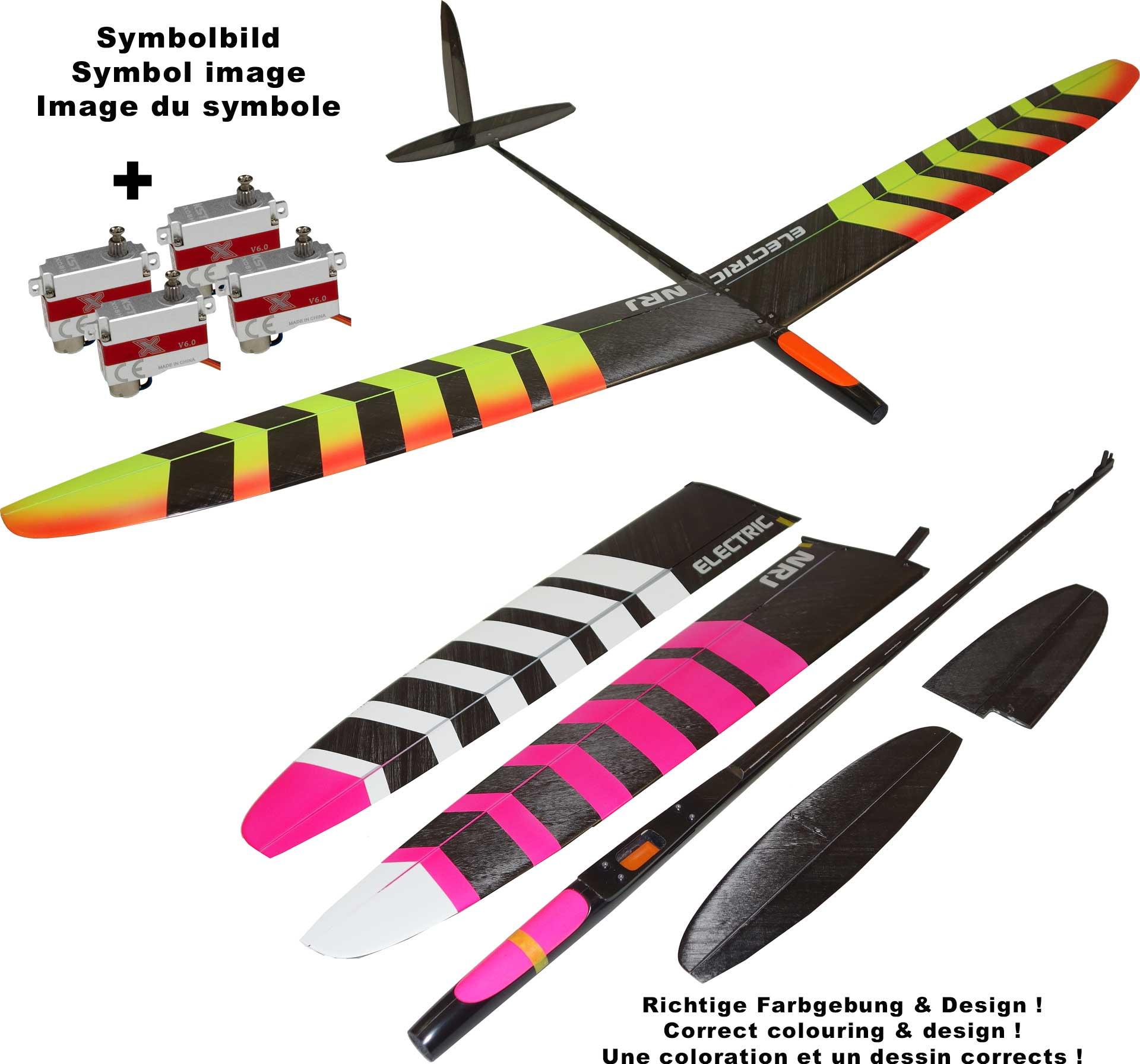 OA-Composites NRJ F5K Electric + KST X08H Servoset Farbe # A Weiss/Pink
