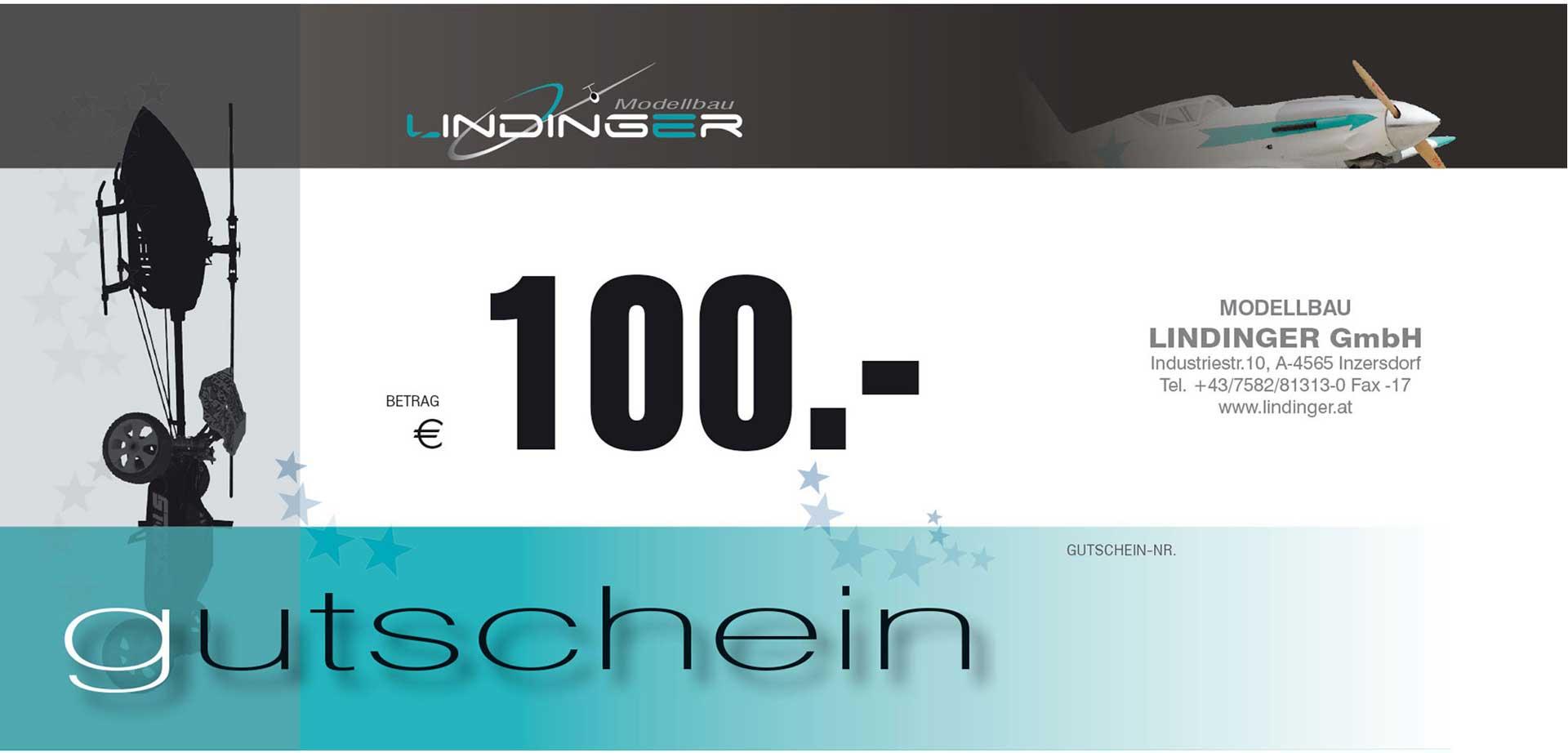 MODELLBAU LINDINGER VOUCHER LINDINGER 100,- EURO POSTVERSAND