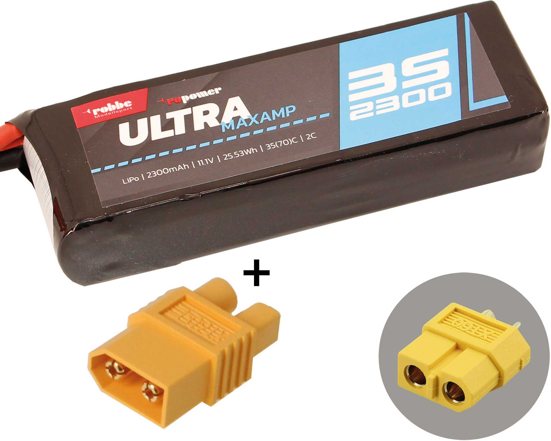 ROBBE RO-POWER Ultra 2300mah 11,1volt + EC3 adapter 3S 35 (70)C Lipo Battery