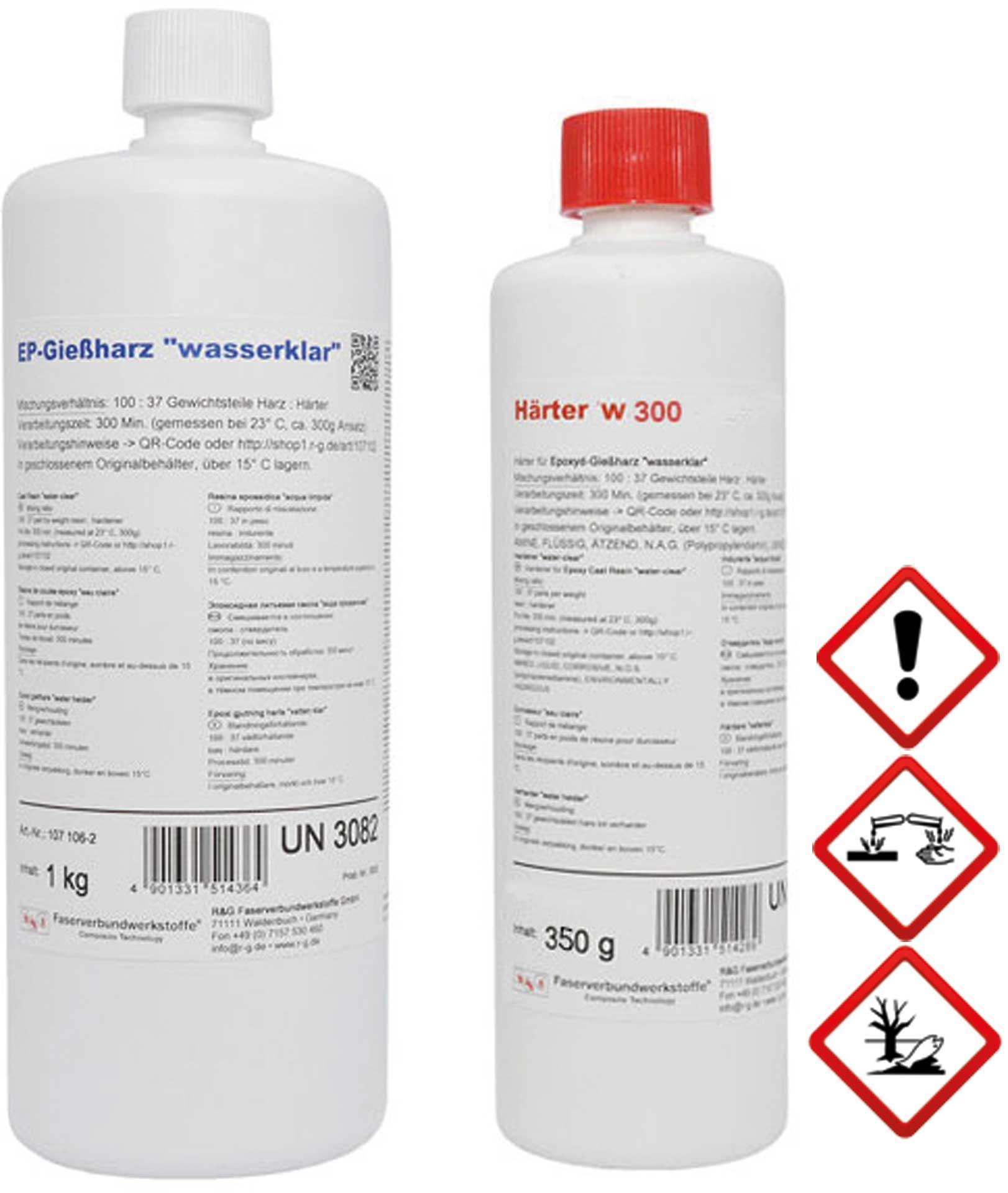 R&G Epoxid-Gießharz (wasserklar) + Härter W300, Packung/ 1,35 kg