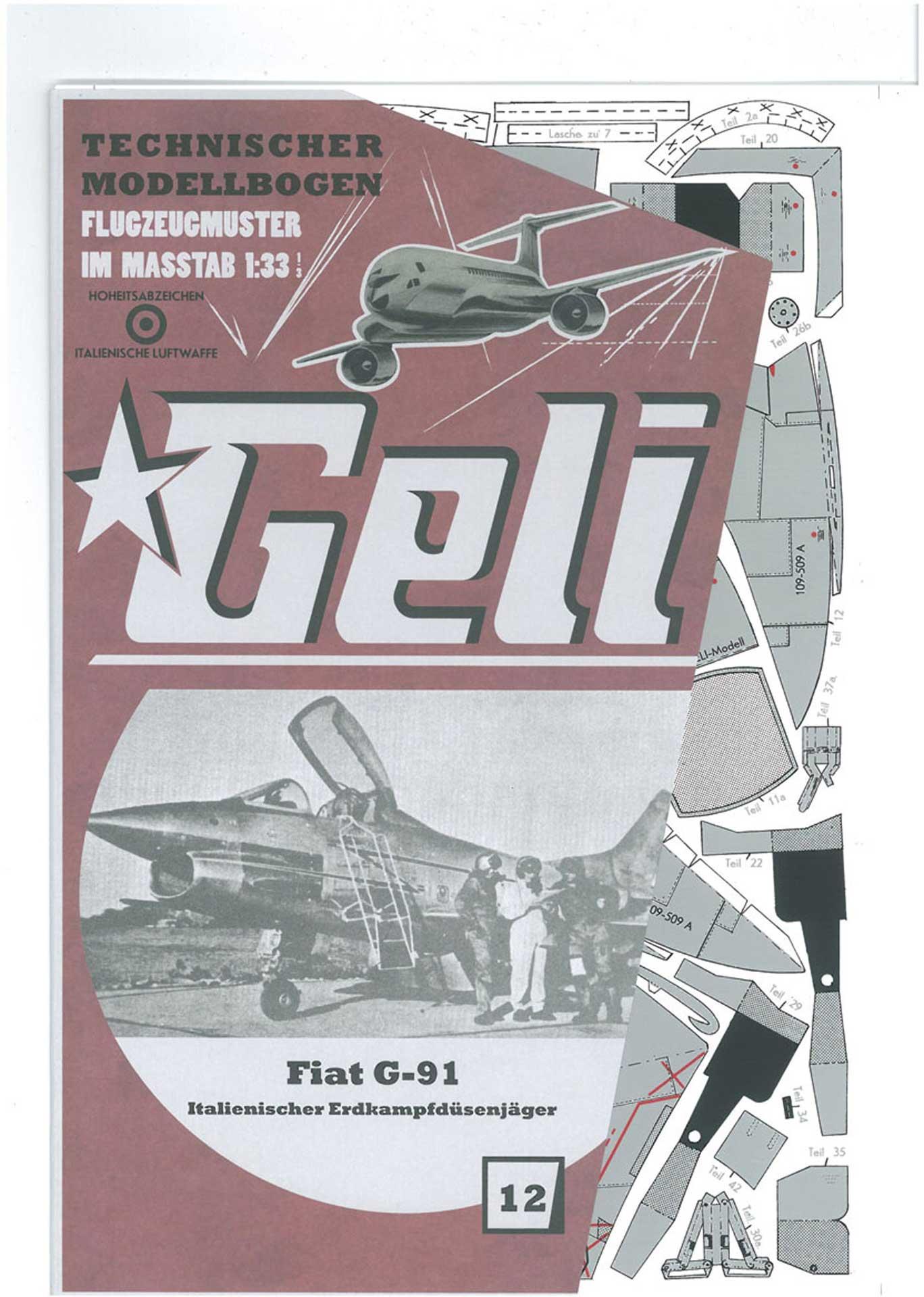 GELI FIAT G 91 KARTONMODELL