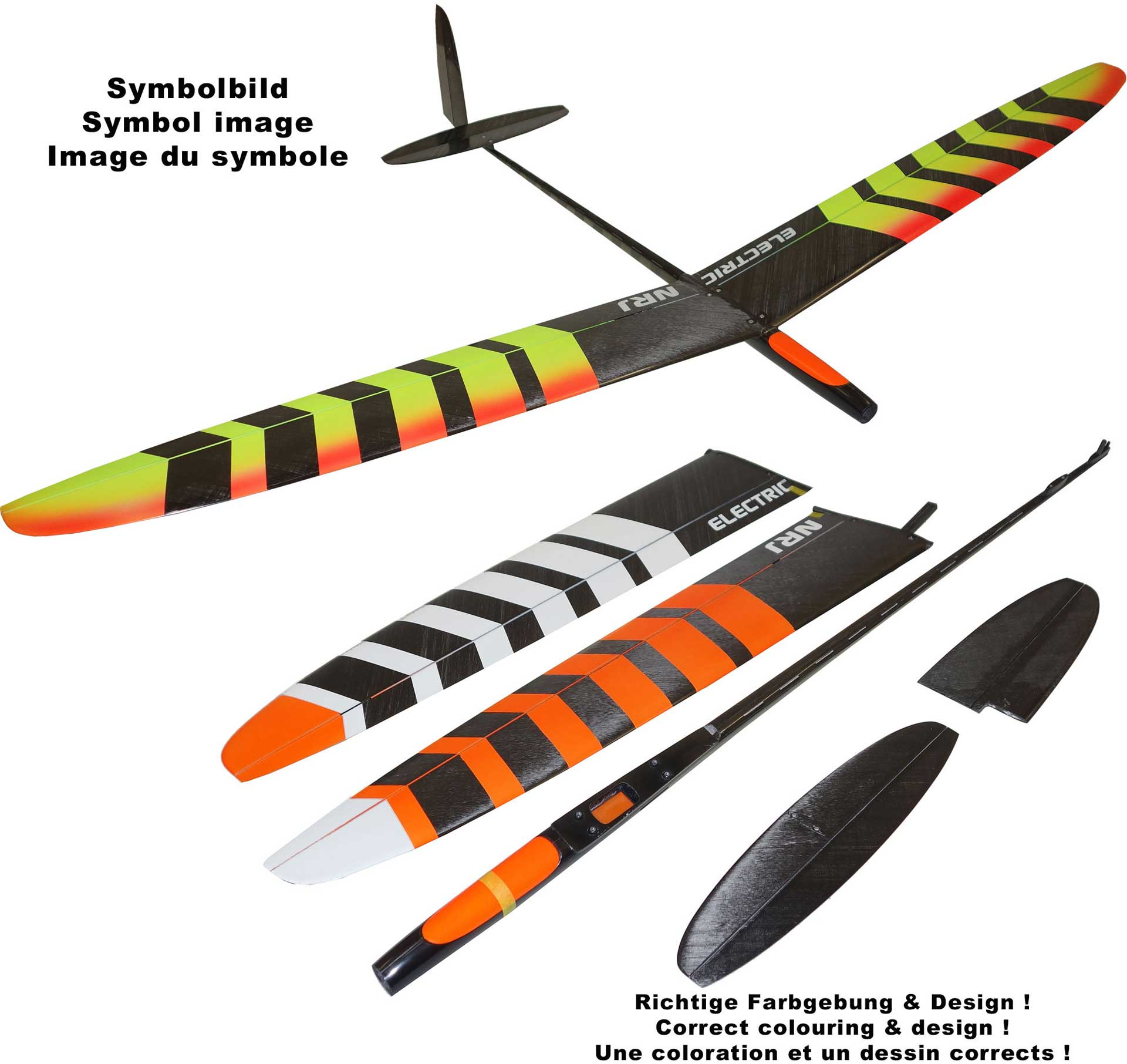 OA-Composites NRJ F5K Electric Farbe # B Weiss/Orange