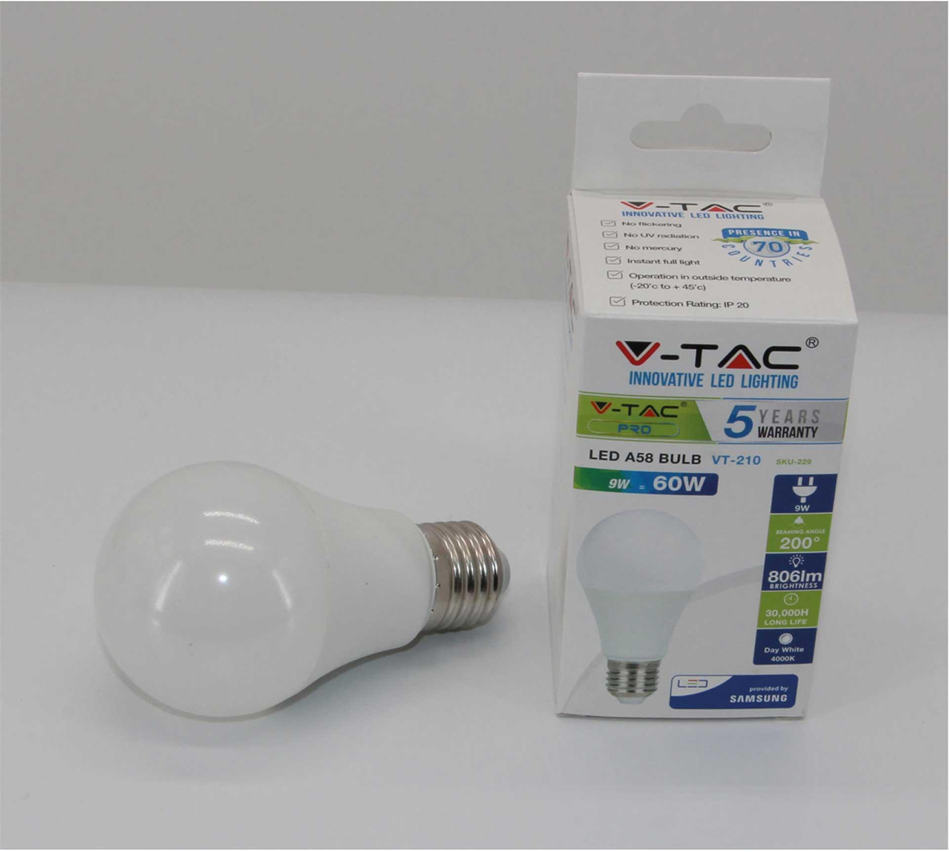 V-TAC E27 LED LAMPE 9W A60 NEUTRALWEIß