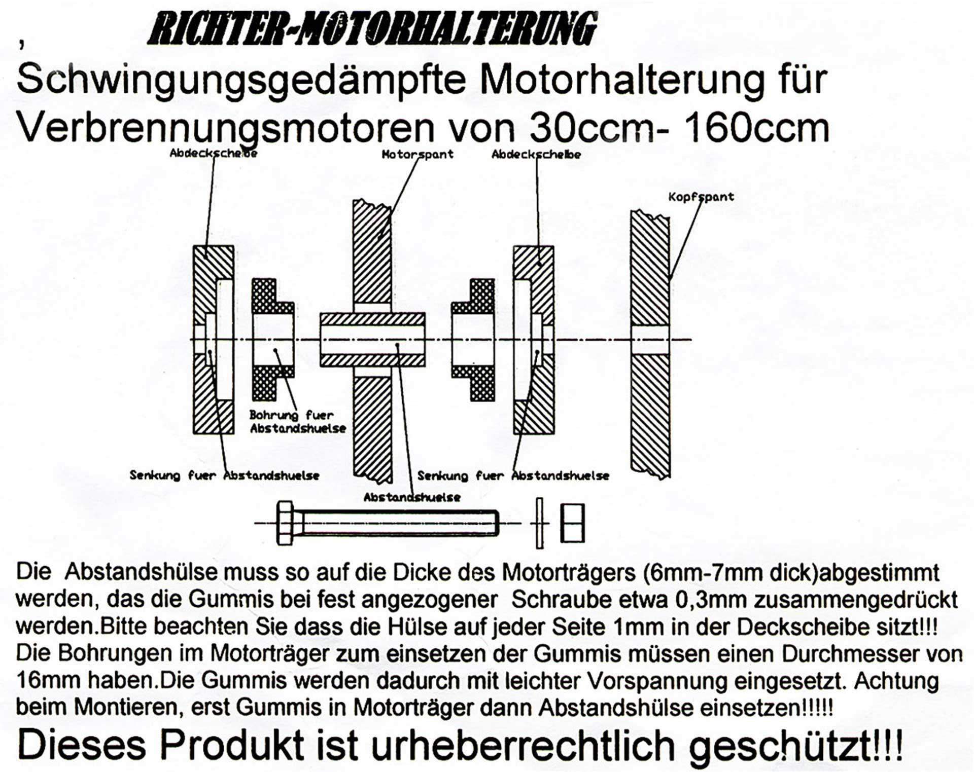 E-R MODELLBAU RICHTERMOTORHALTERUNG 30-160CCM SATZ
