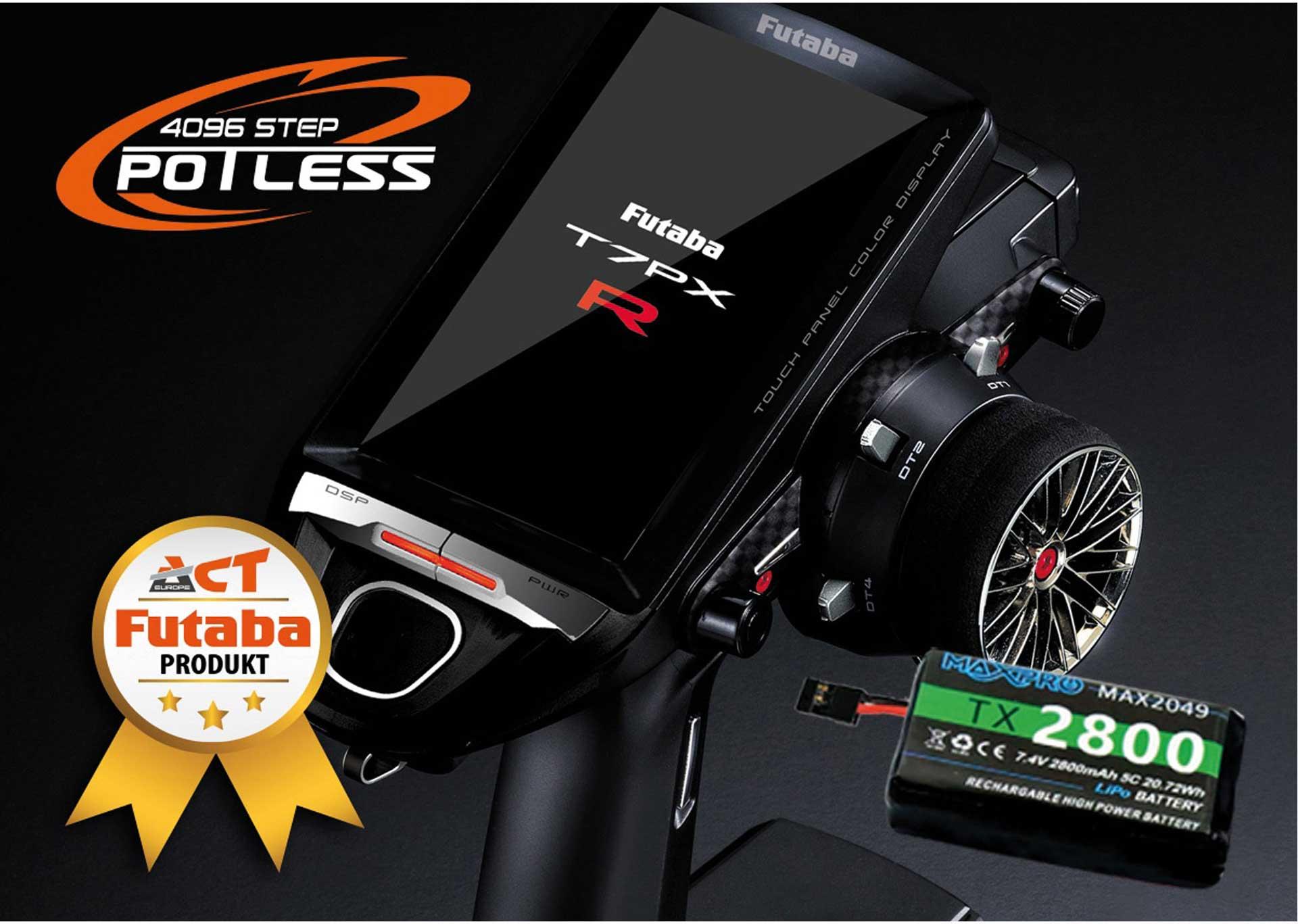 Futaba T7PXR Potless V3 + R334SBS + LiPo 2800mAh + Charger