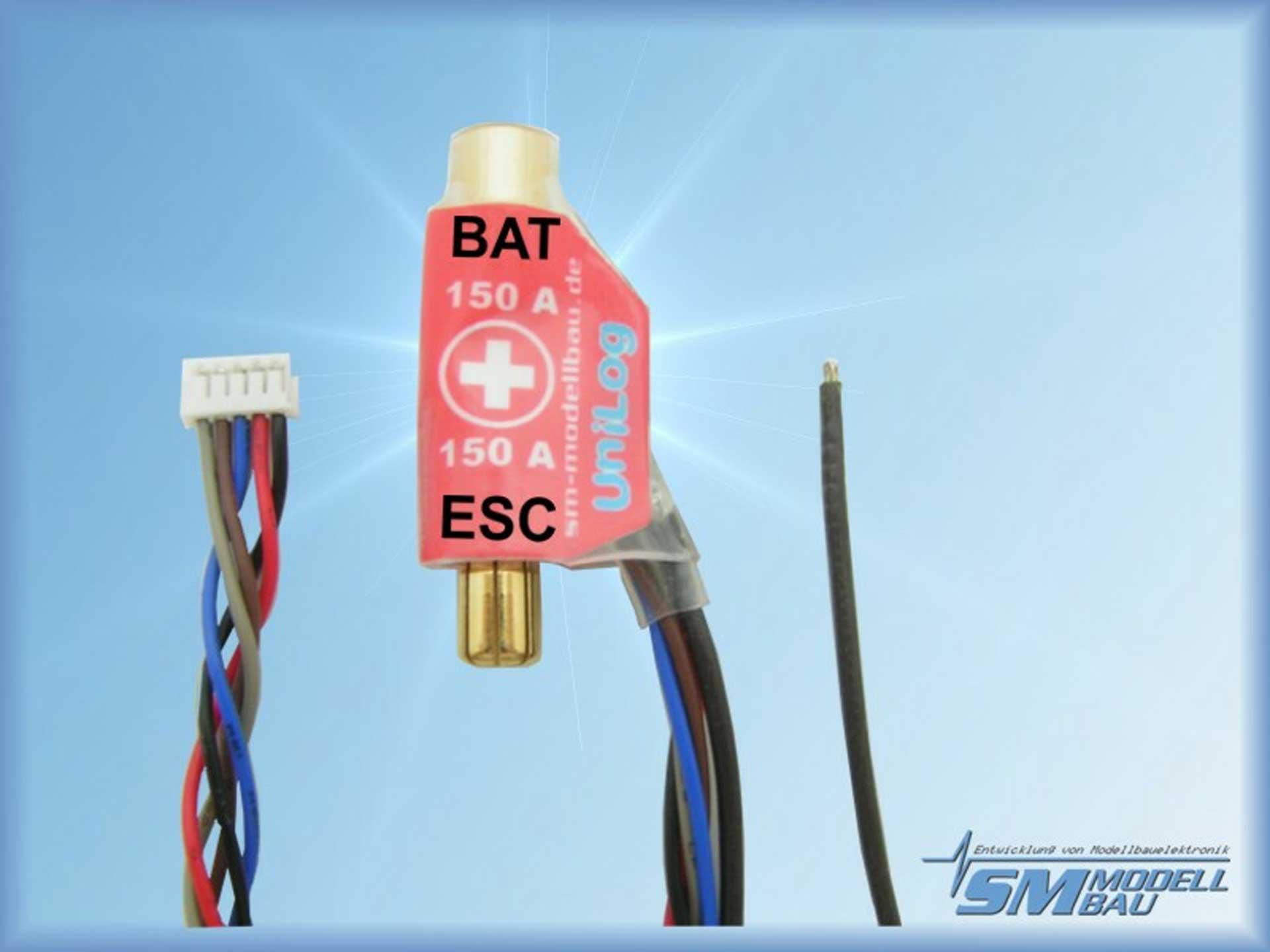 SM-Modellbau Unilog Stromsensor 150A 6mm LMT Goldstecker (für Akkus mit Stecker am Pluspol)