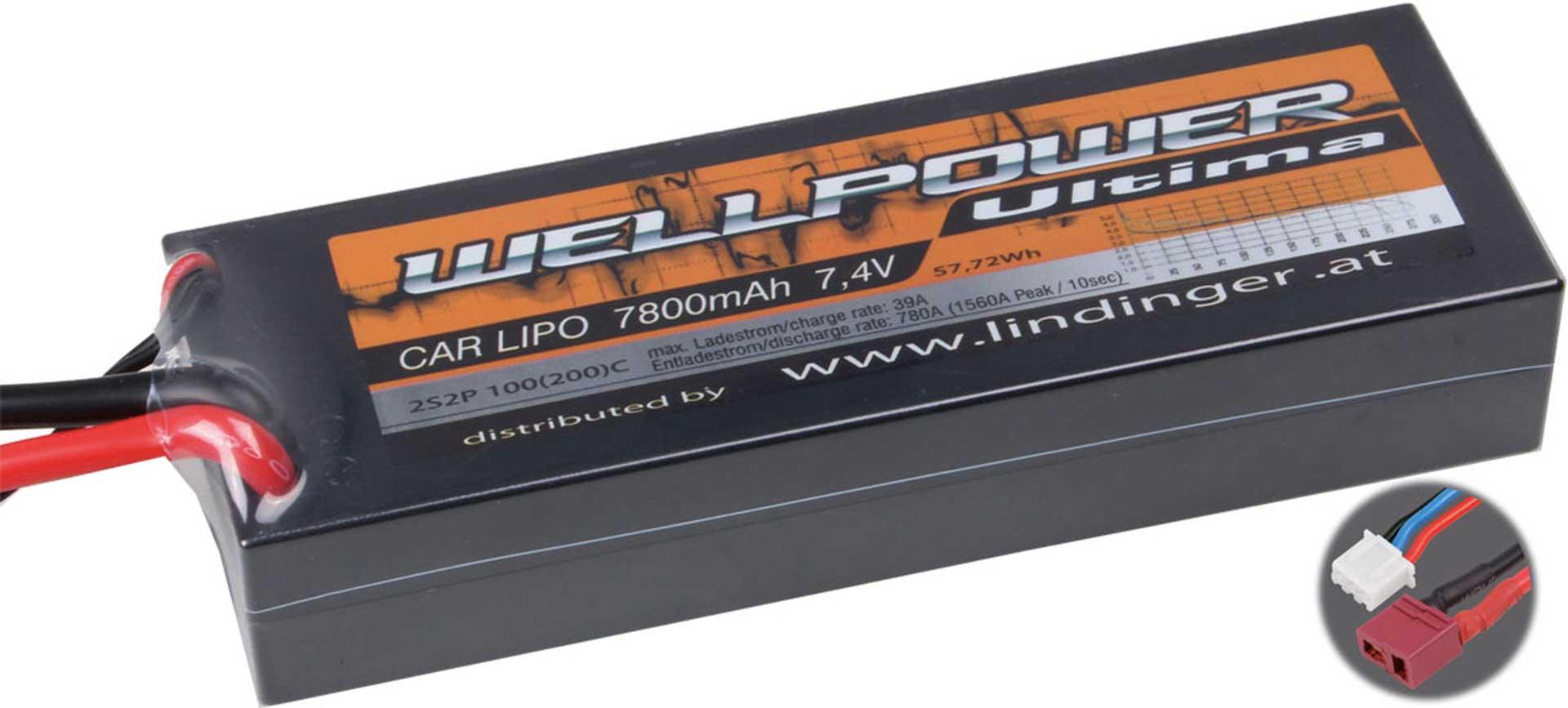 WELLPOWER LIPO AKKU ULTIMA CAR 7800 MAH / 7,4 VOLT 2S2P 100/200C MIT T-STECKER